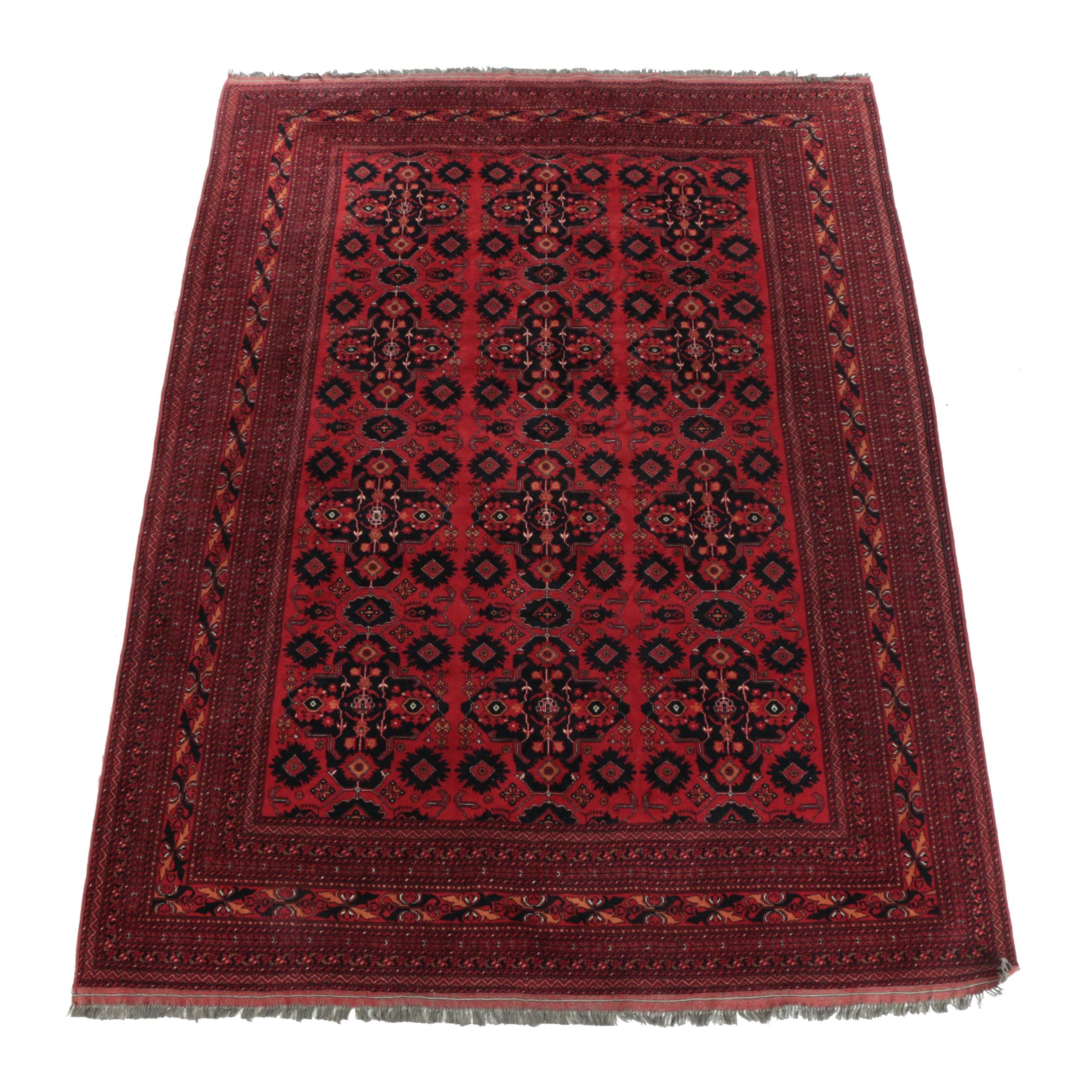 Hand-Knotted Afghani Turkmen Wool Room Sized Rug