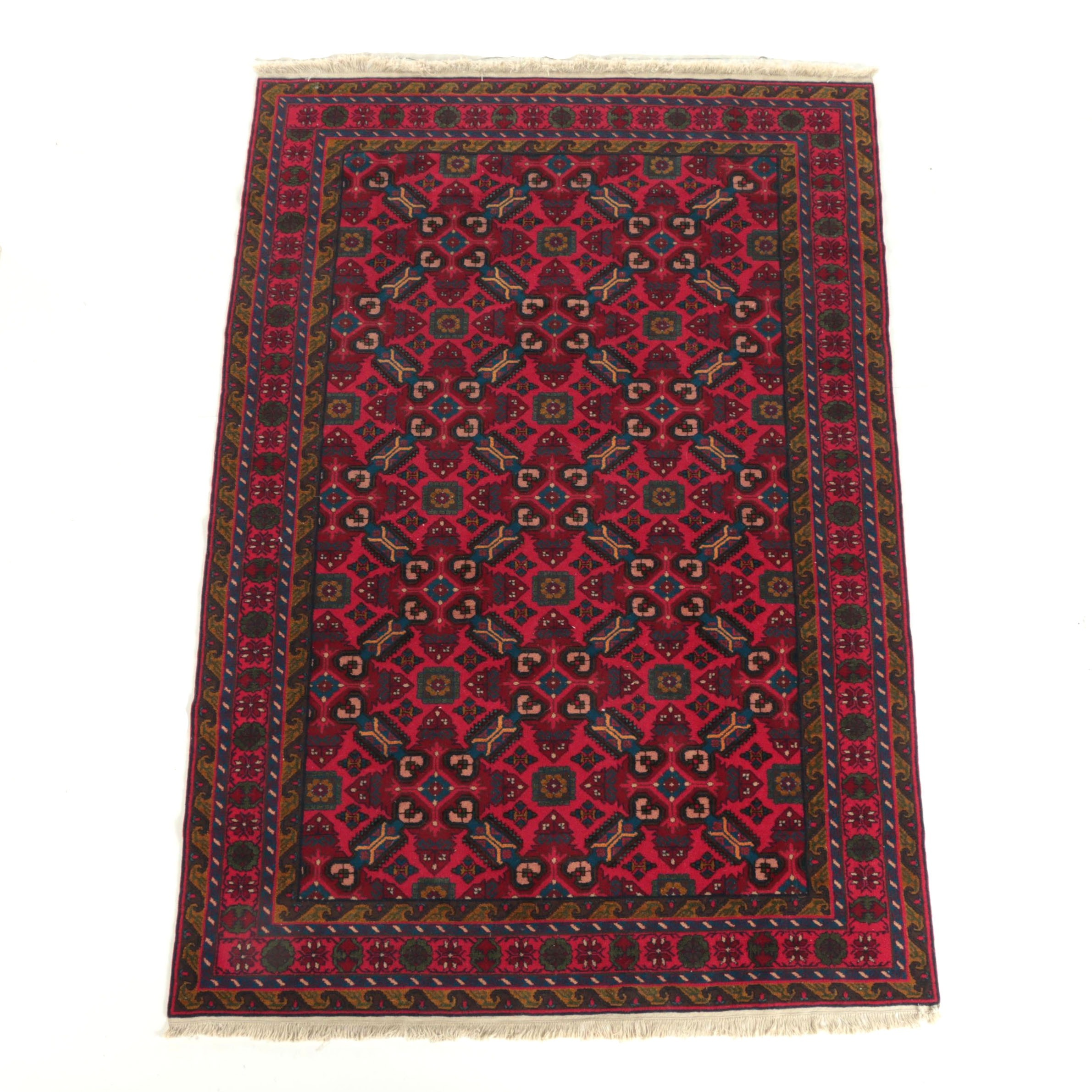 Hand-Knotted Beshir-Style Bokhara Wool Area Rug