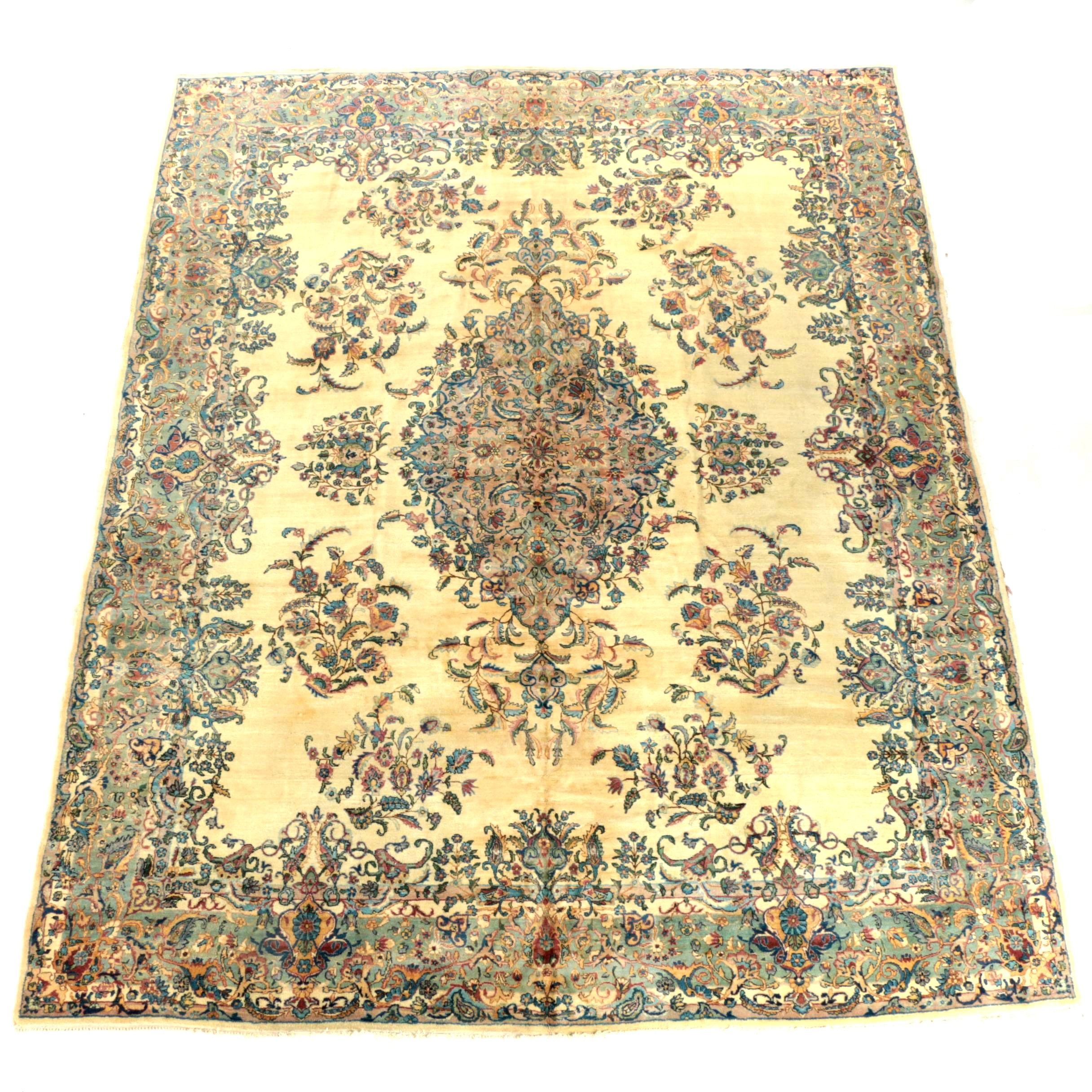 Semi-Antique Hand-Knotted Persian Kerman Wool Room Sized Rug