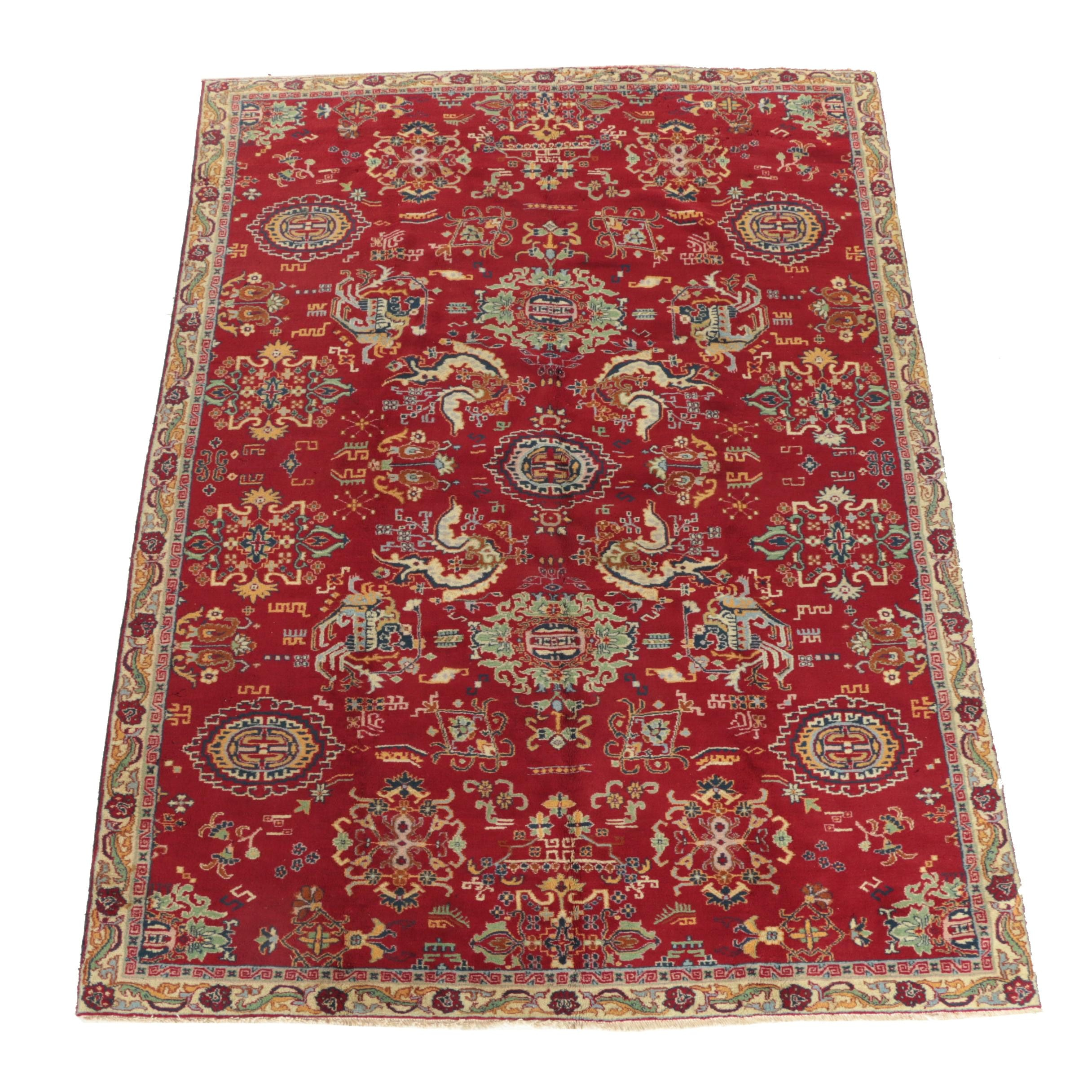 Hand-Knotted Chinese-Style Wool Area Rug