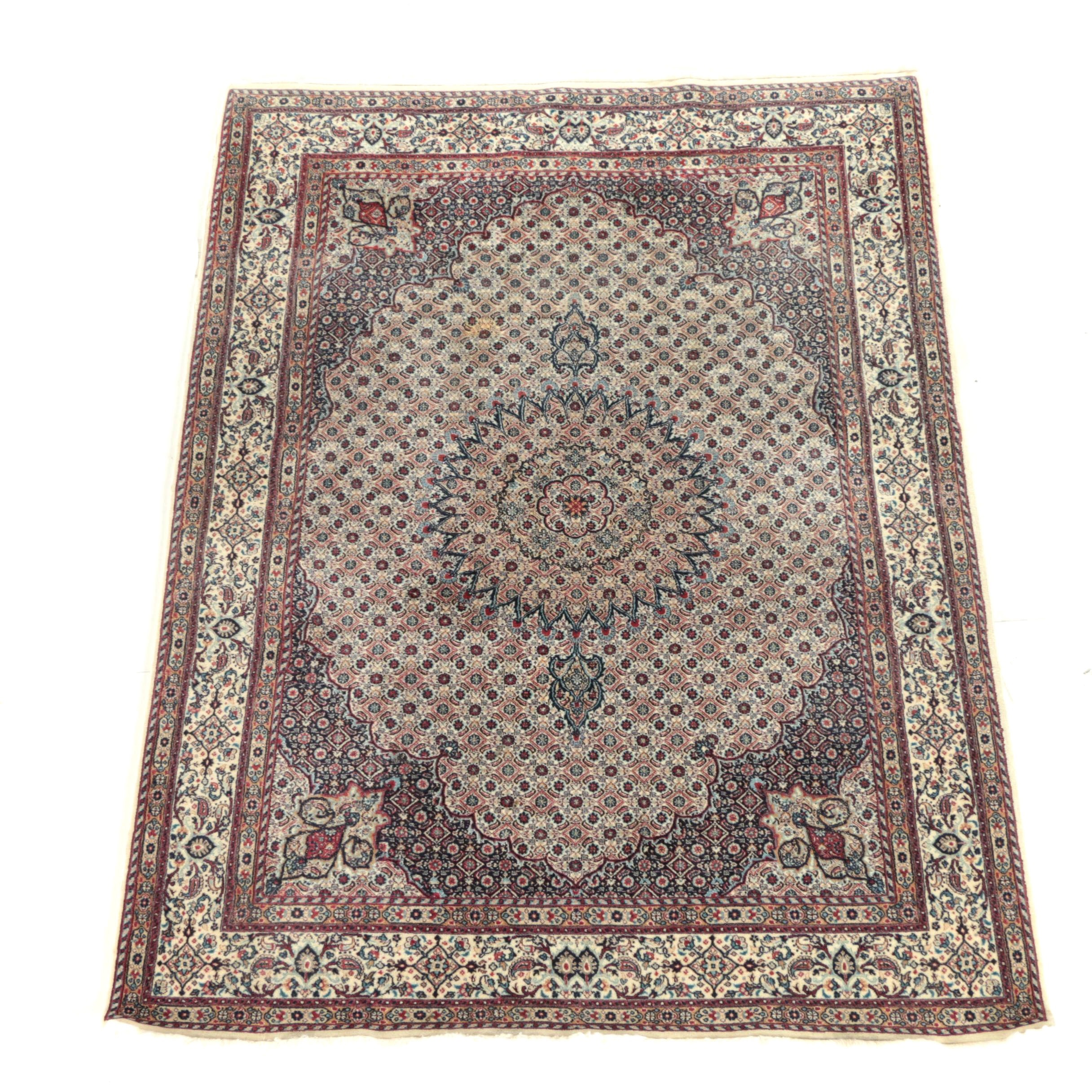 Finely Hand-Knotted Persian Moud Wool Area Rug