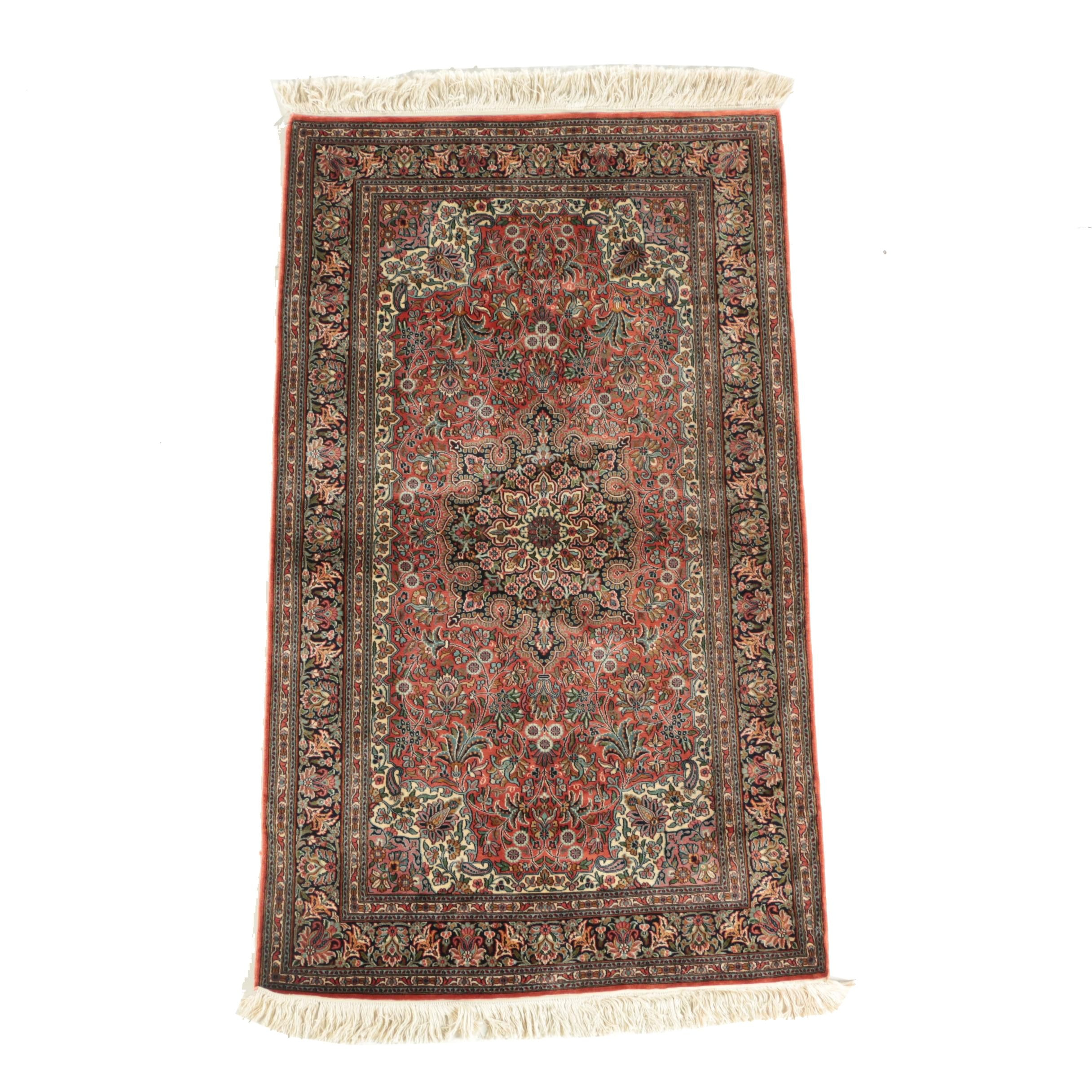 Finely Hand-Knotted Sino-Persian Silk Accent Rug