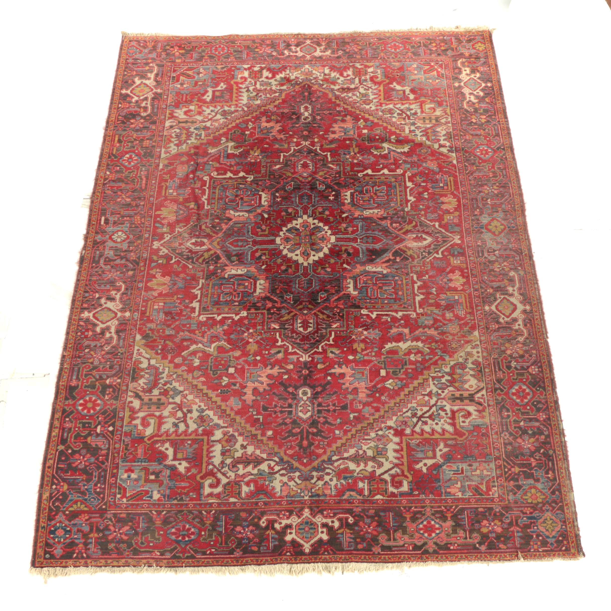 Power-Loomed Belgian Persian Heriz-Style Wool Area Rug