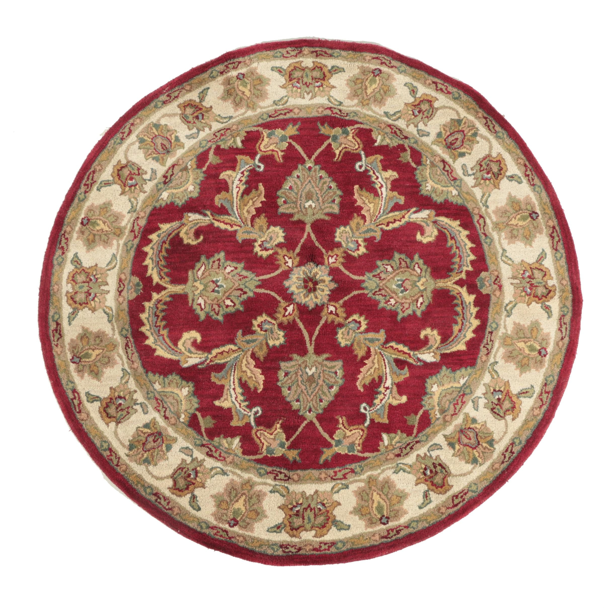 Hand-Tufted Indian Agra-Style Round Wool Area Rug