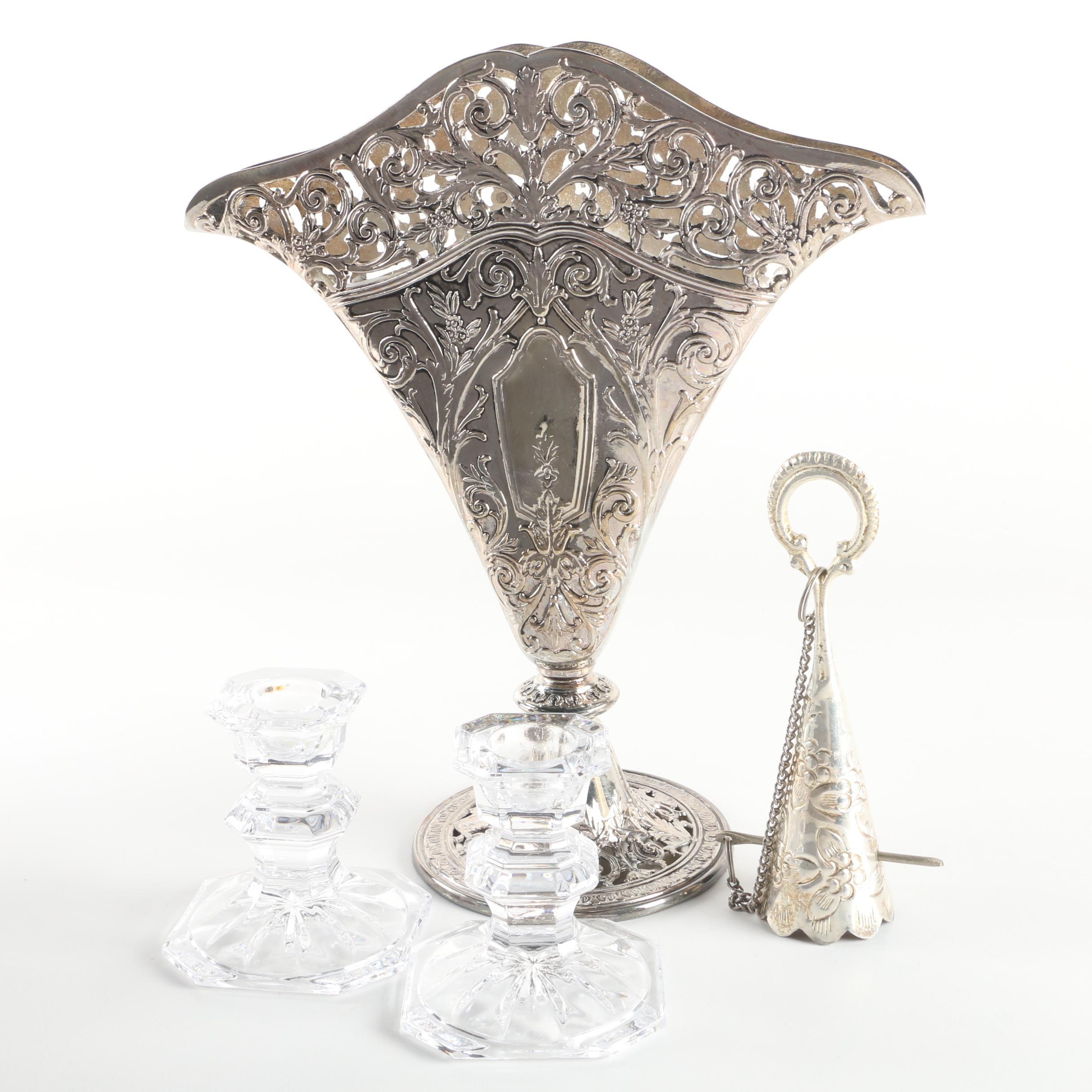 Godinger Art Nouveau Style Silver Plate Fan Vase with Crystal Candleholders