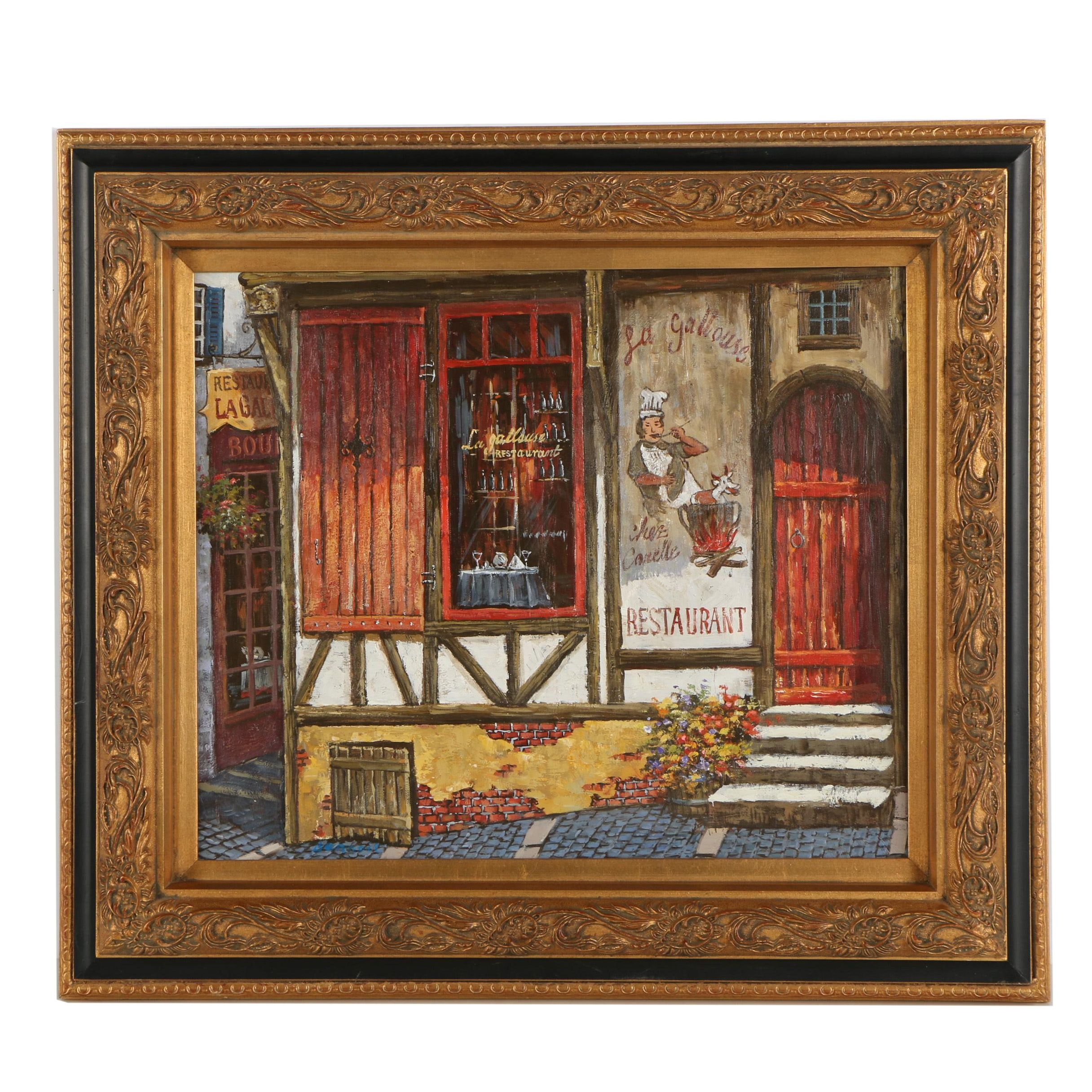 Bennoit Contemporary Oil Painting of French Café
