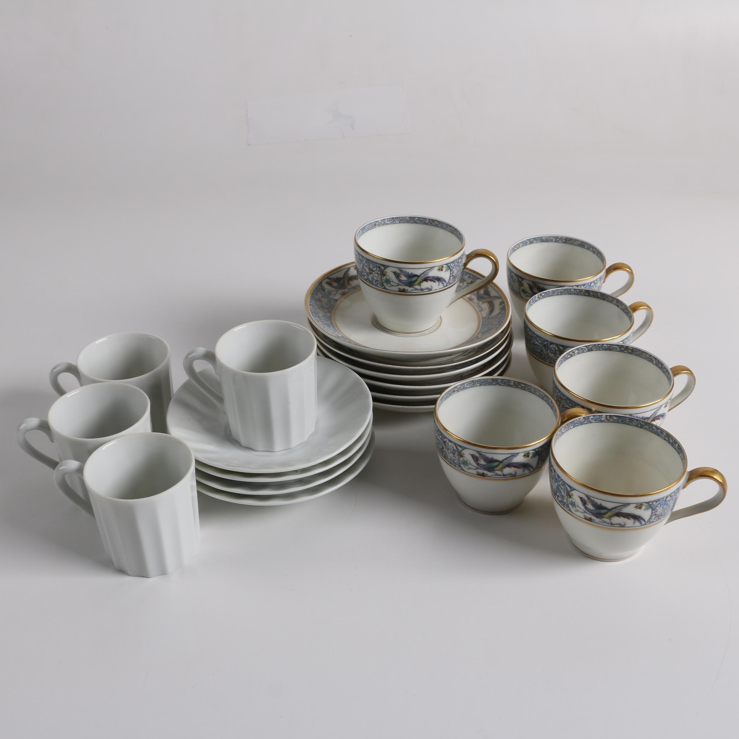 """Theodore Haviland Limoges """"Rani"""" Porcelain and Other Teacups and Saucers"""