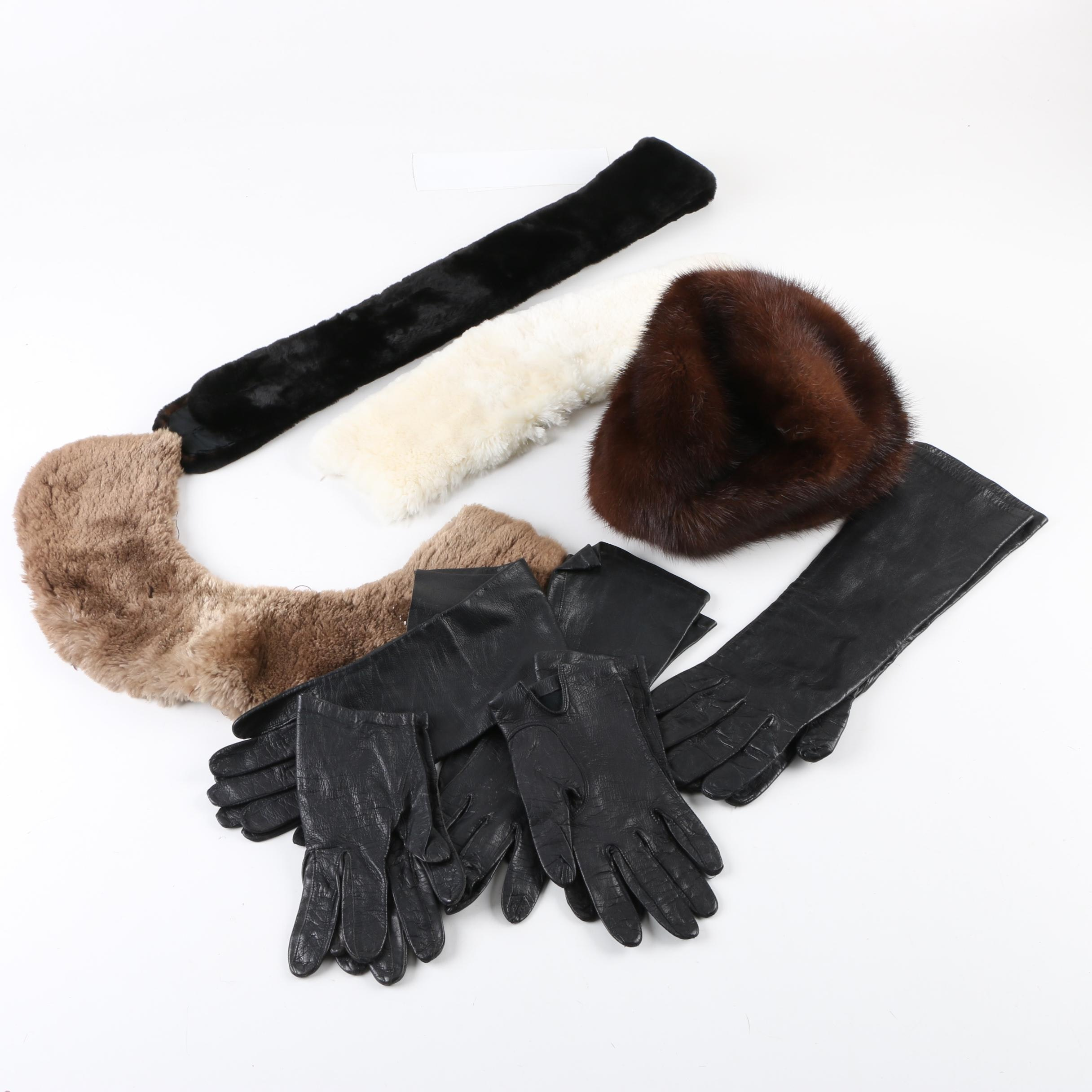 Beaver and Mink Fur Accessories and Five Pairs of Black Leather Gloves