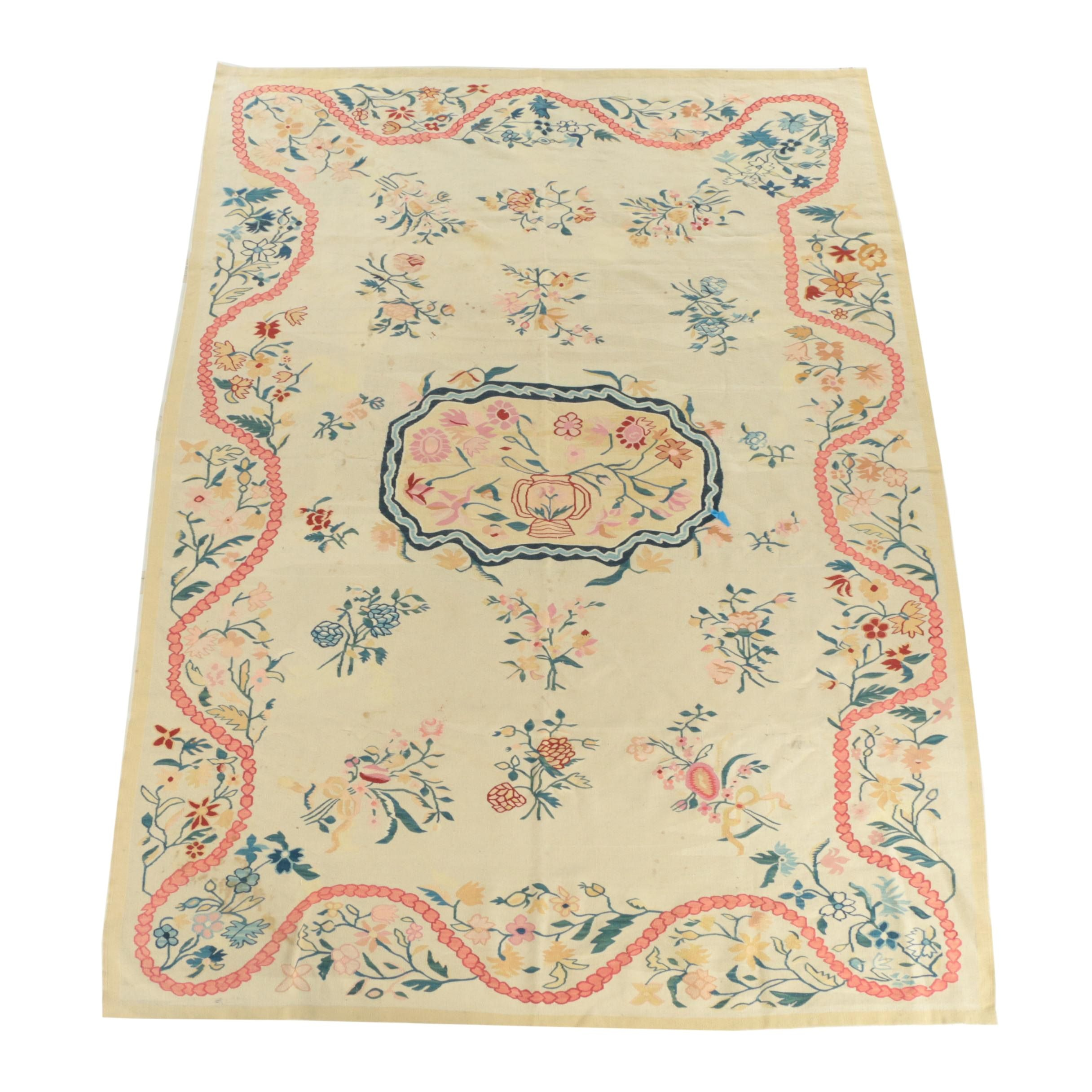 Handwoven Indian Dhurrie Floral Area Rug