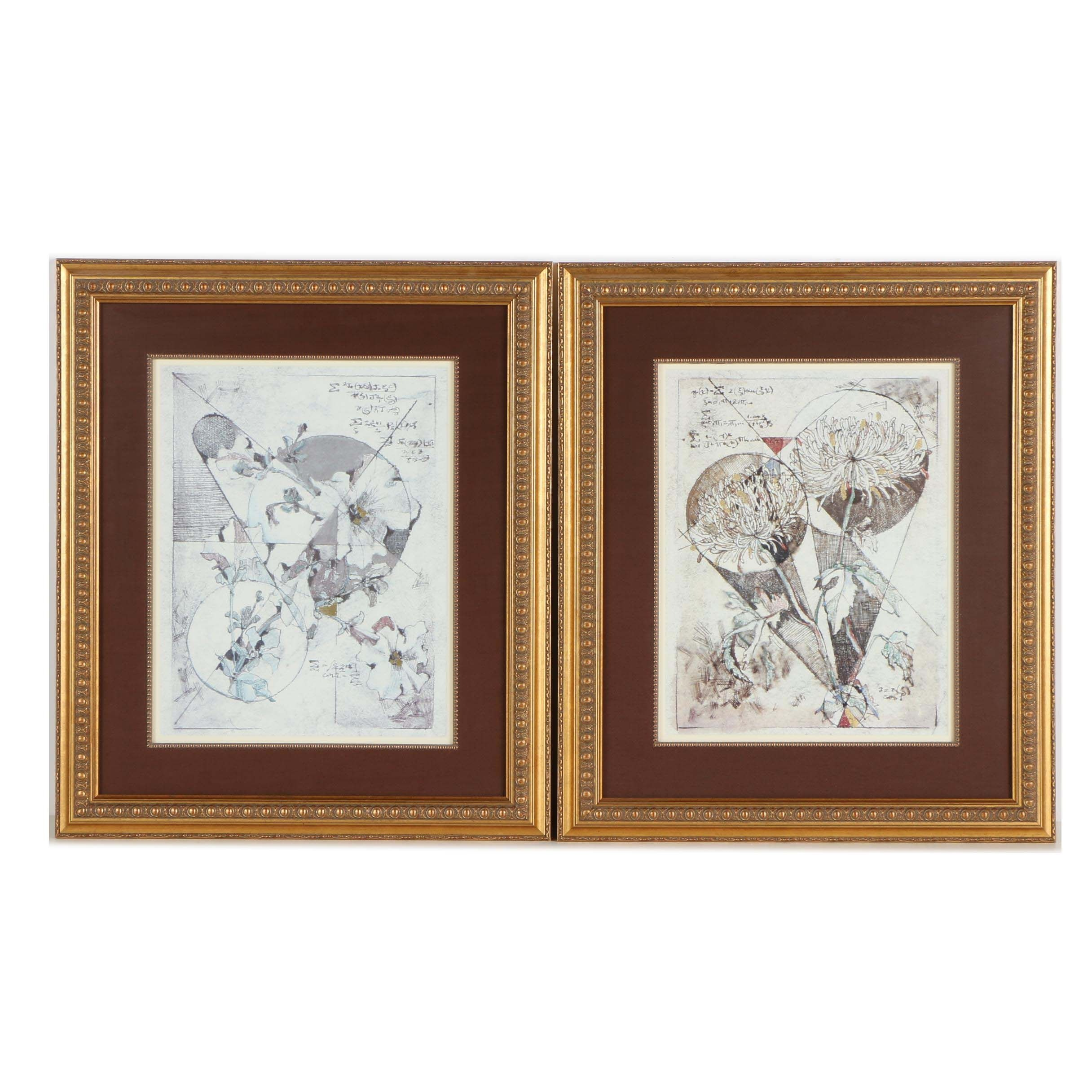 Pair of Offset Lithographs of Flowers