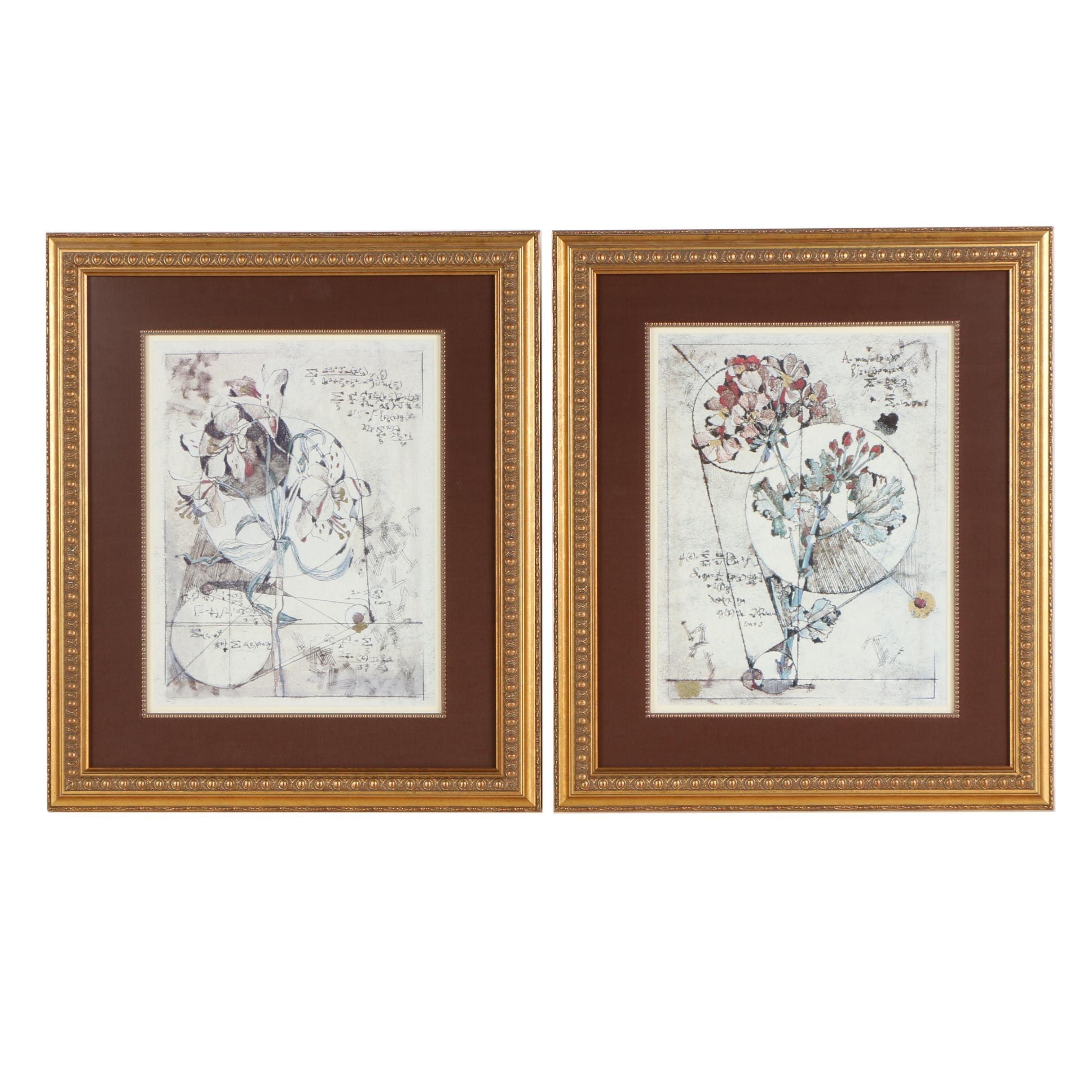 Pair Of Embellished Offset Lithograph Prints