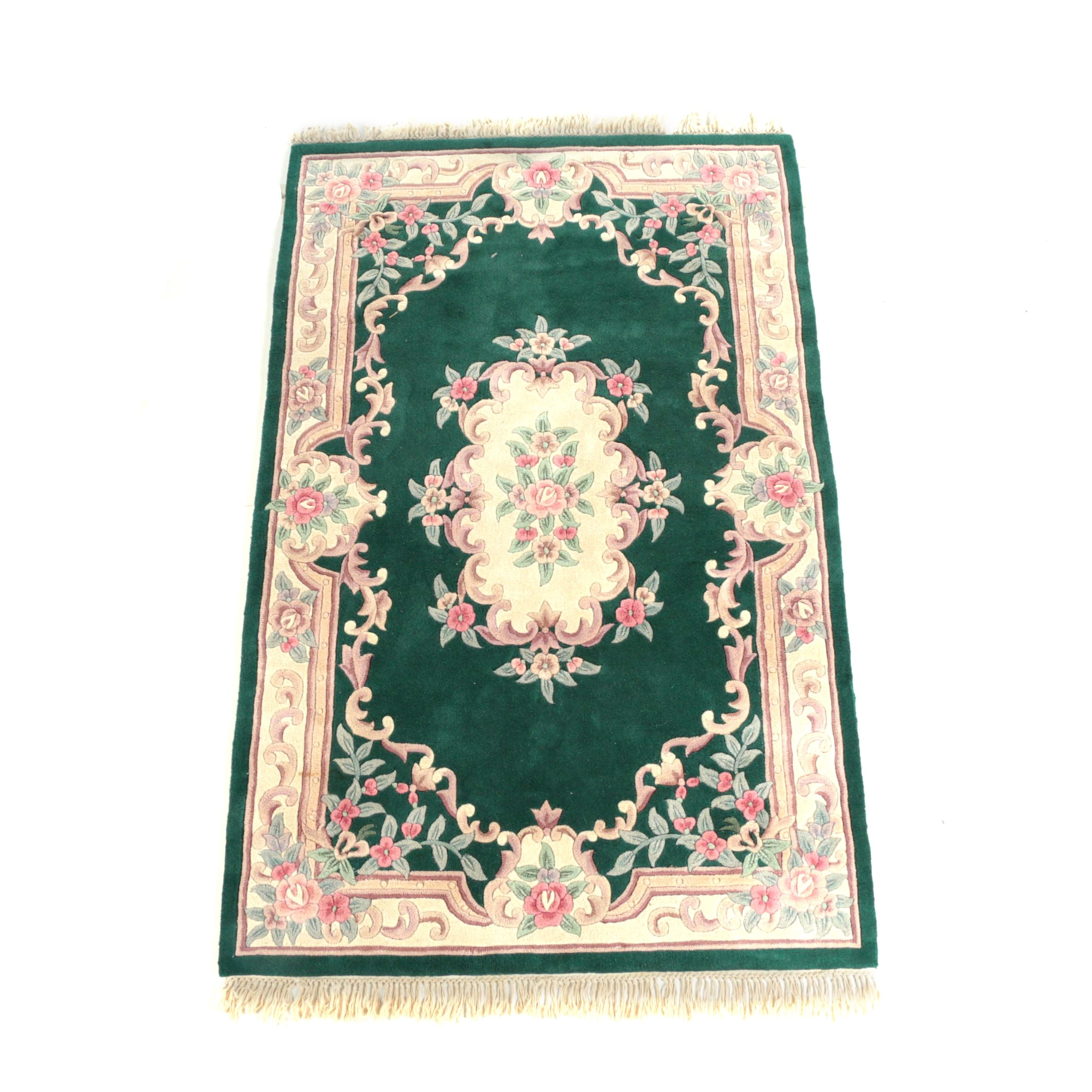 Tufted Chinese Floral Carved Wool Area Rug