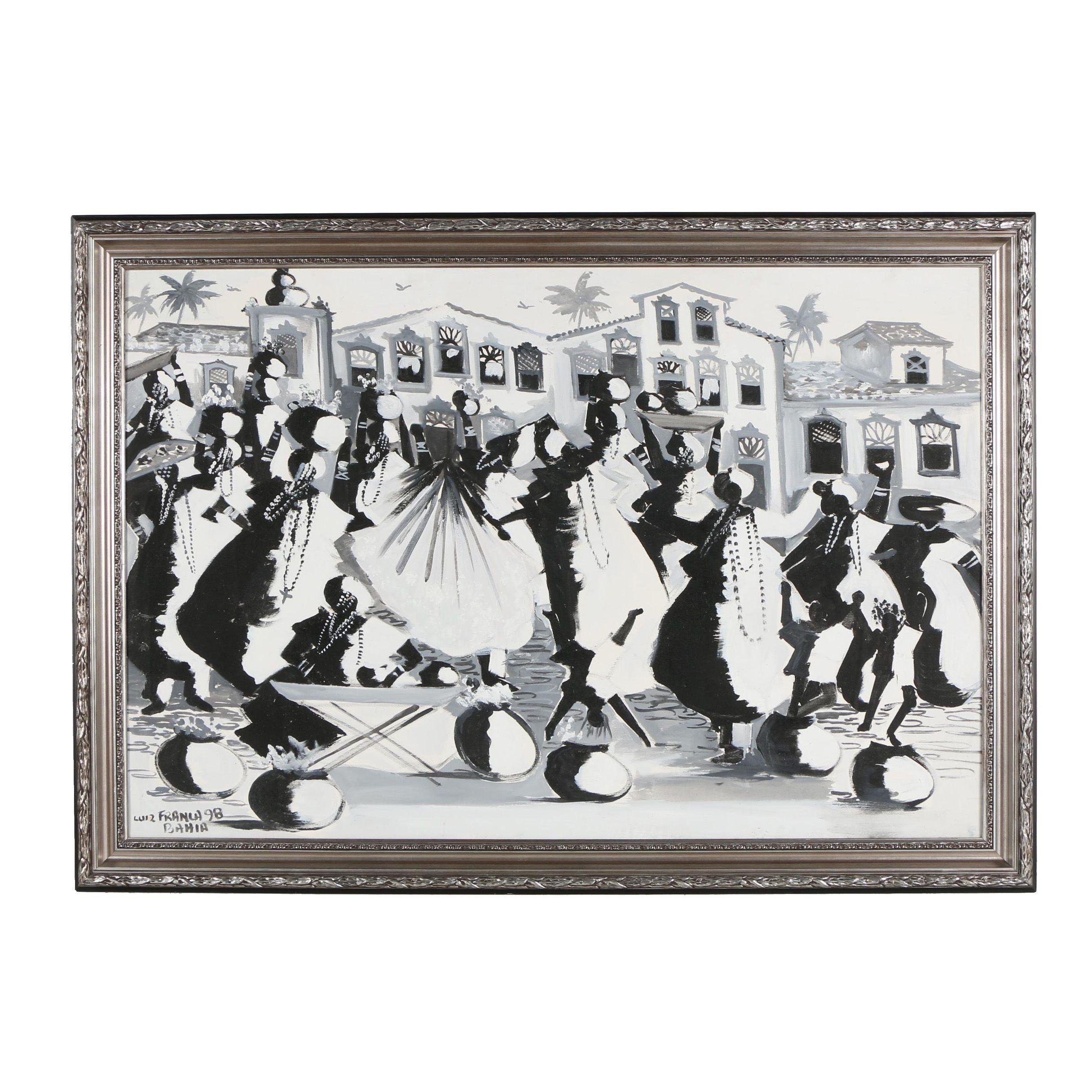 Luiz Franca Acrylic Painting of Figures Walking in Parade