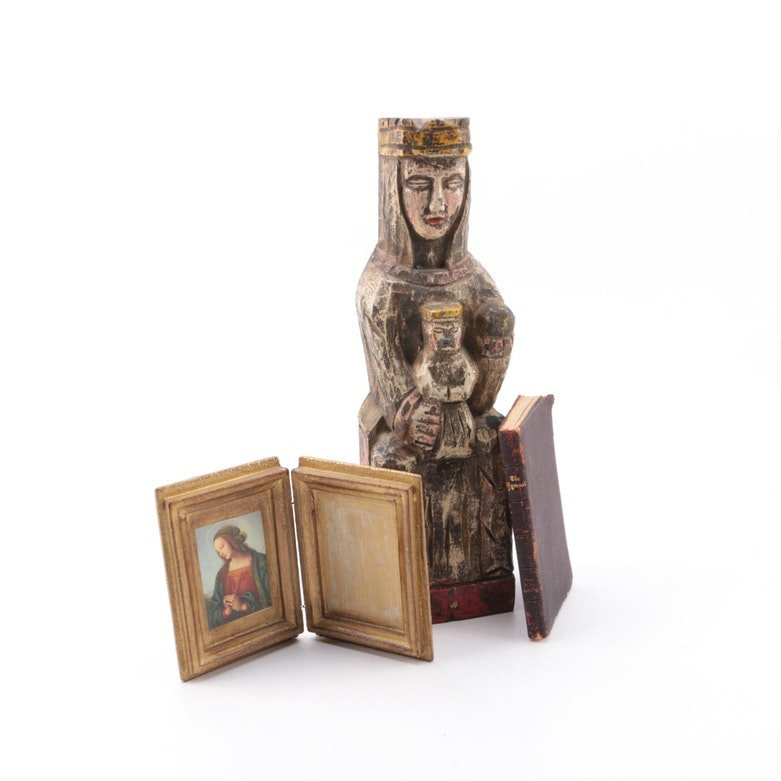 Polychrome Madonna Sculpture, Print and Hymnal Book