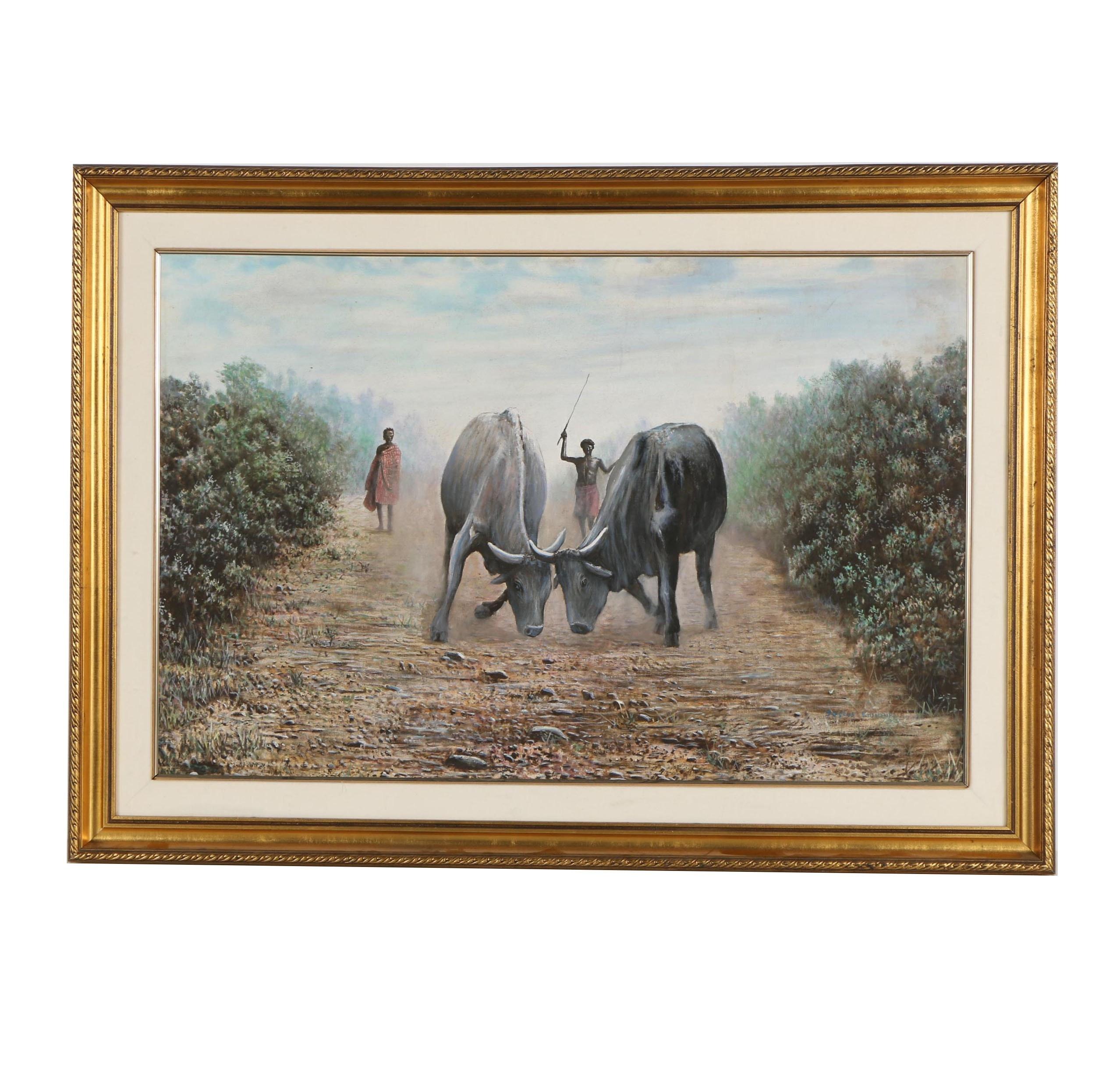 Justus Kiunjuri Oil Painting of Bulls