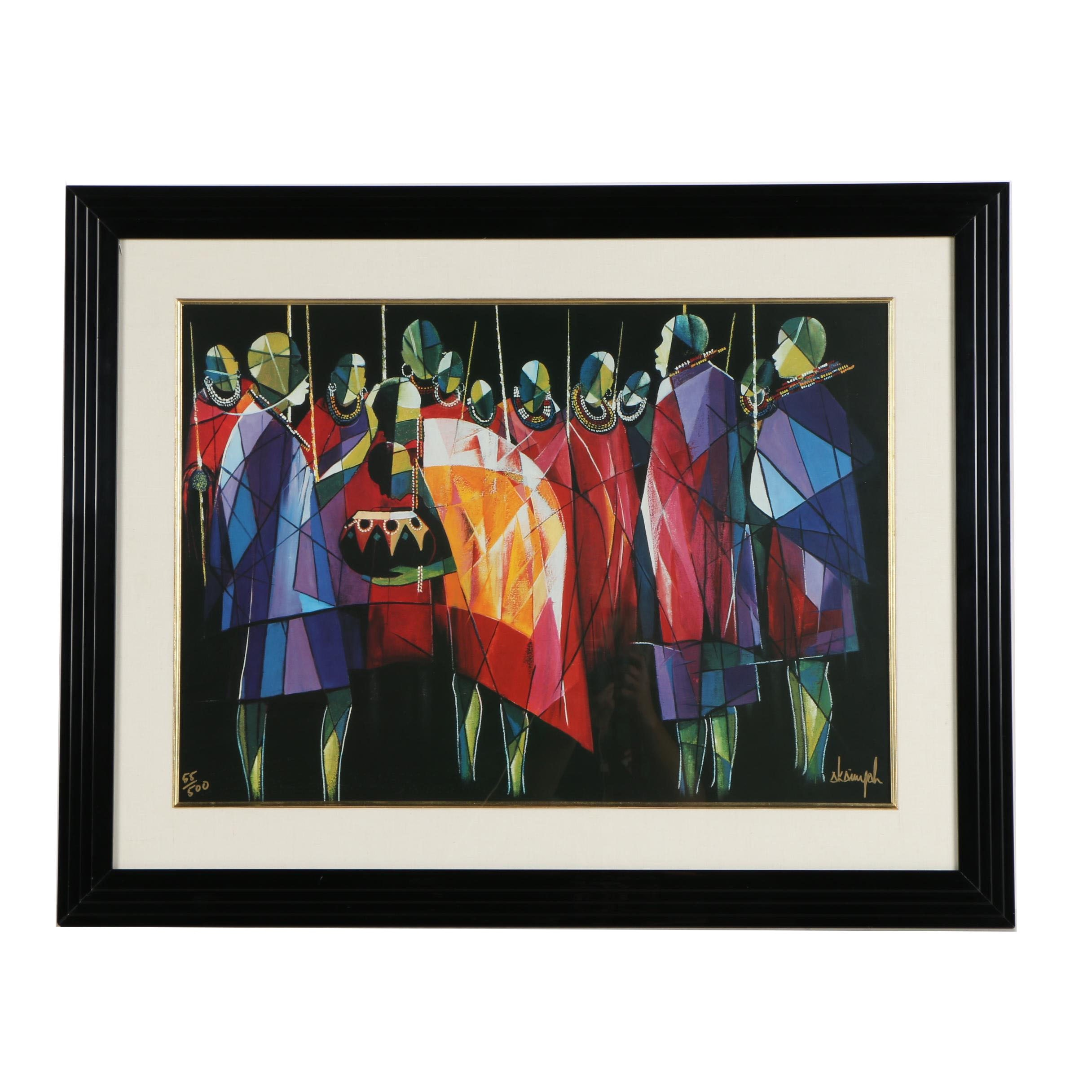 Samuel Akainyah Limited Edition Offset Lithograph of Figures in Maasai Attire