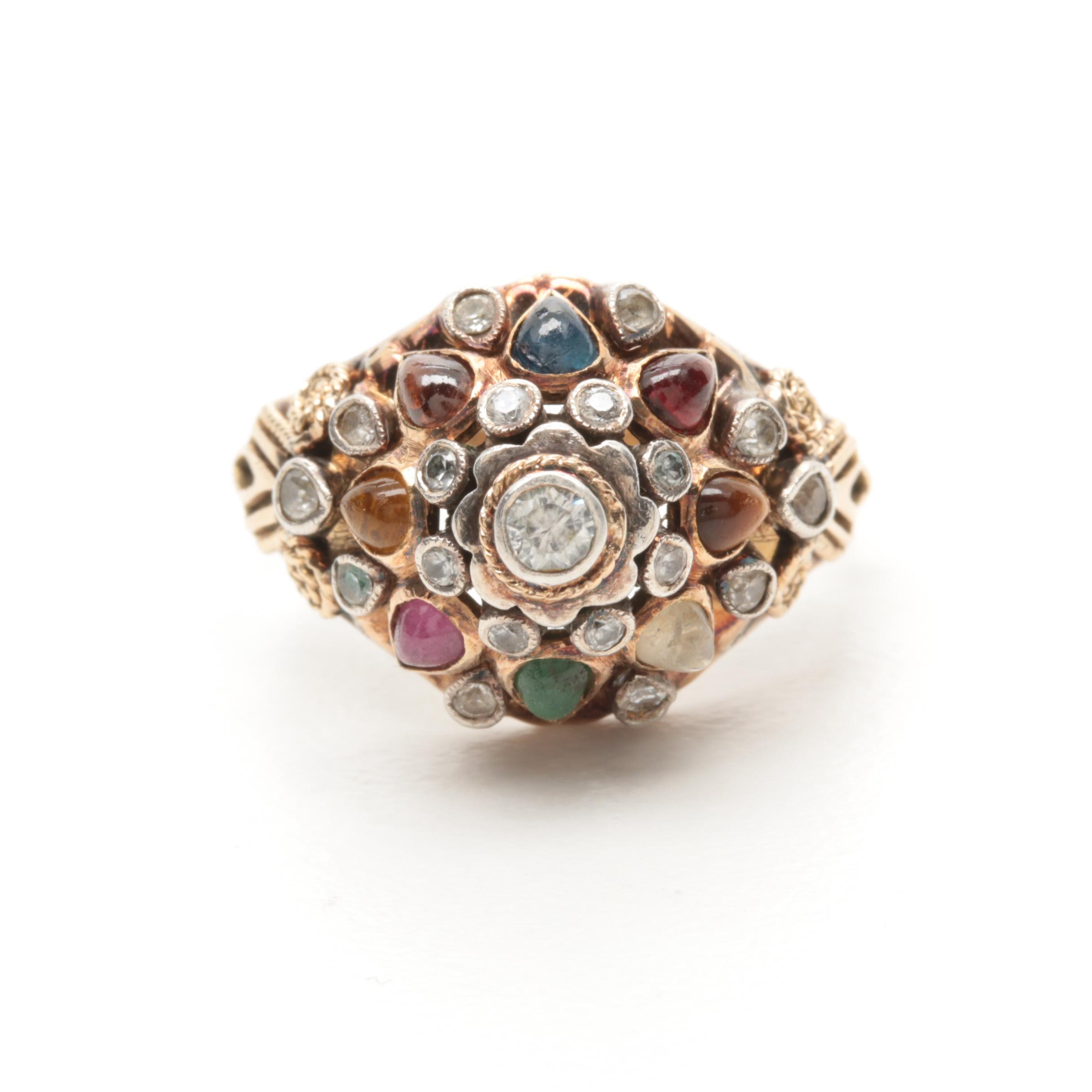 18K Yellow Gold Gemstone Ring Including Ruby and Emerald