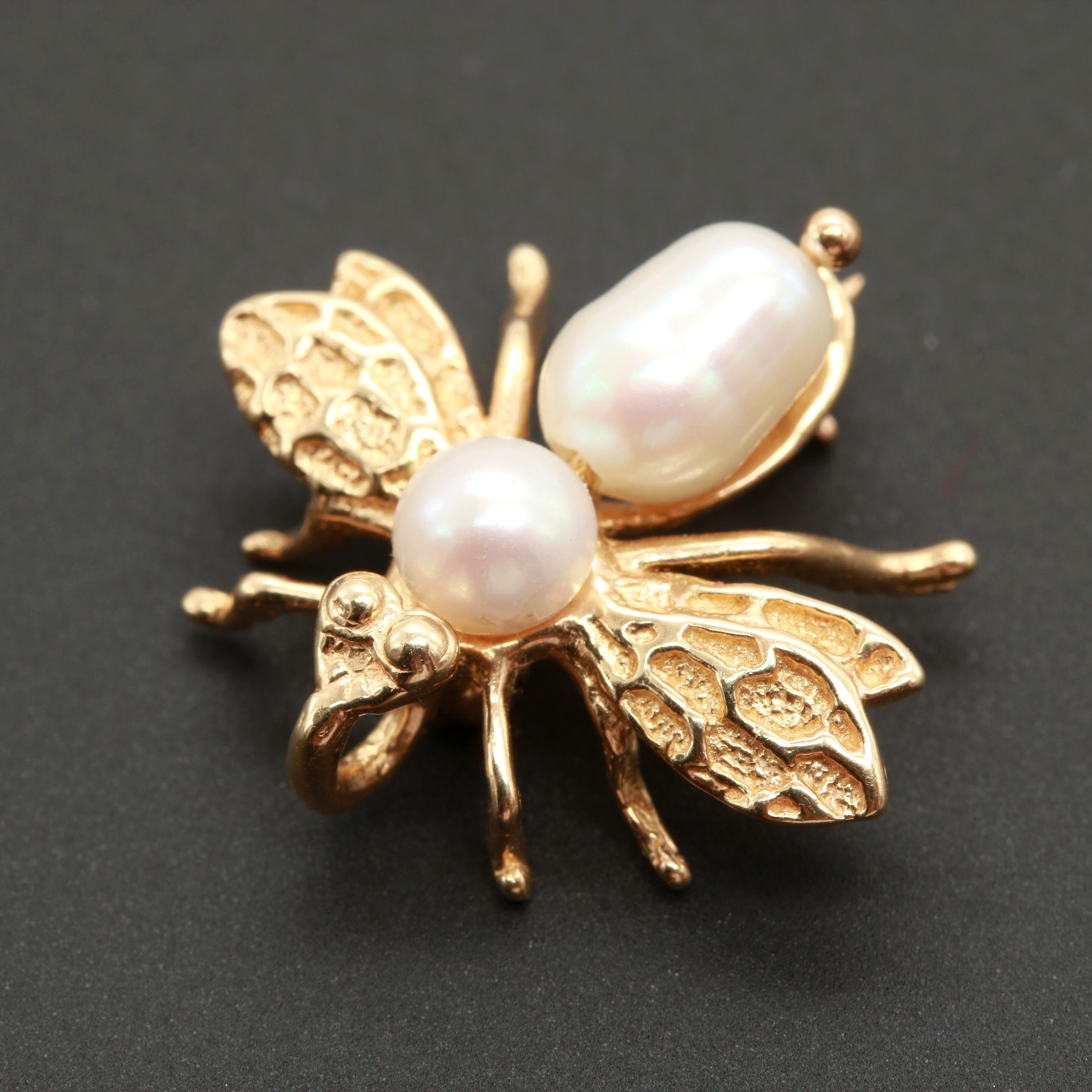 14K Yellow Gold Cultured Pearl Winged Insect Converter Brooch