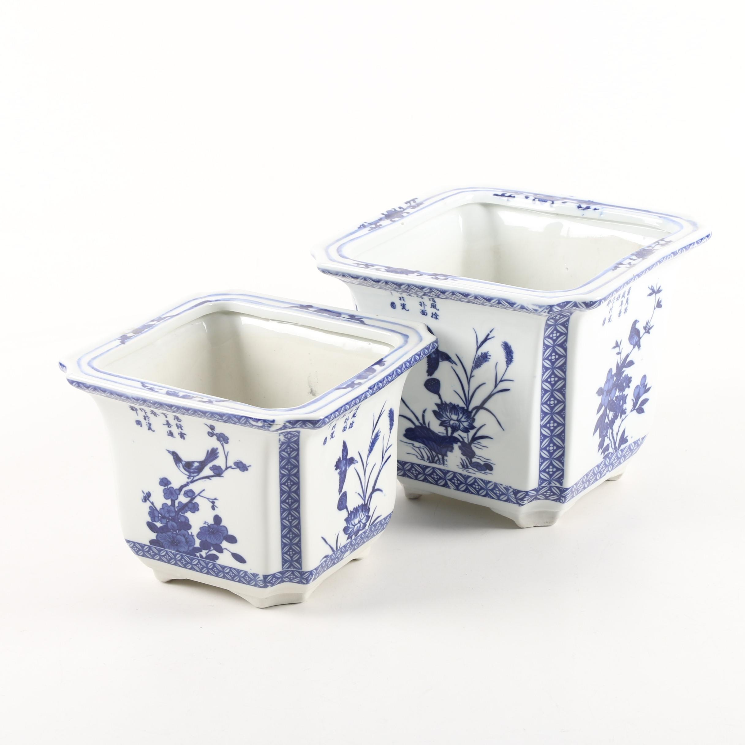 Chinese Blue and White Porcelain Jardinieres