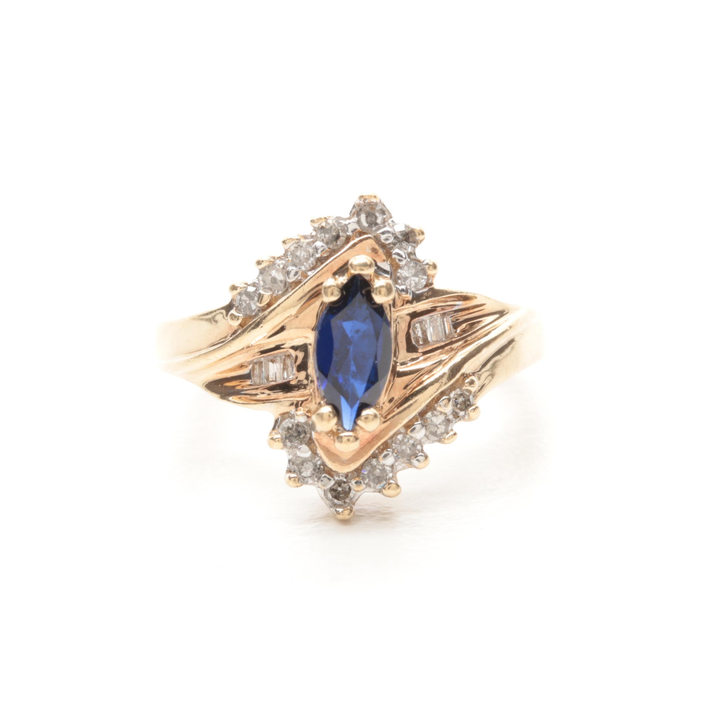 10K Yellow Gold Synthetic Blue Sapphire and Diamond Ring