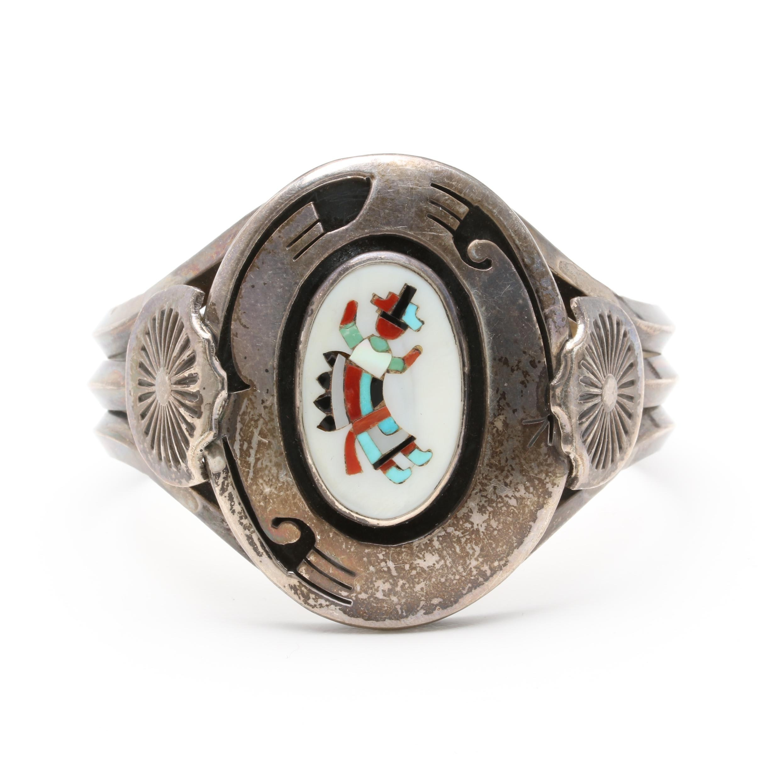 Vintage Southwestern Sterling Silver Mother of Pearl, Turquoise, and Coral Cuff