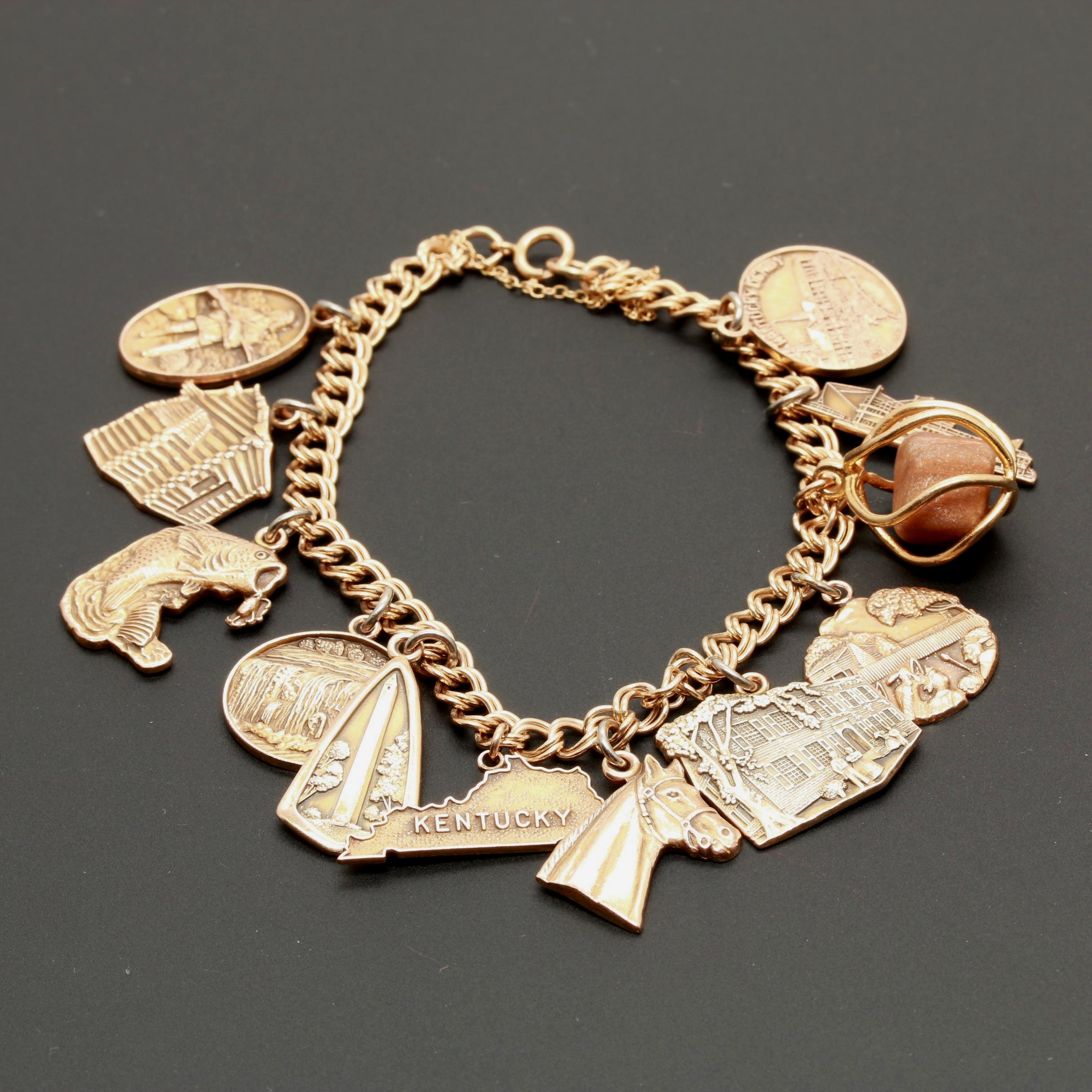 Vintage 14K Yellow Gold Charm Bracelet with Kentucky Themed Charms