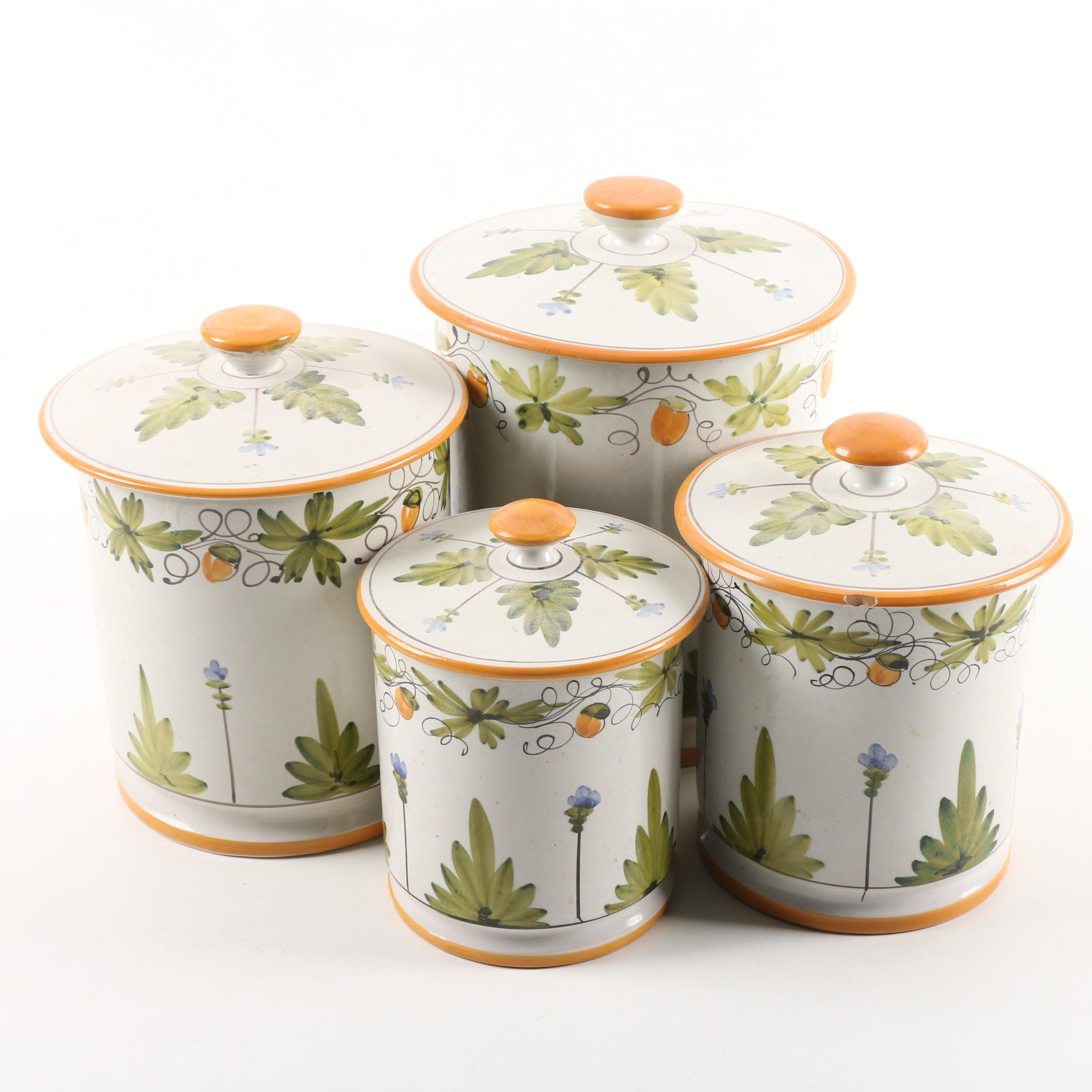 Vintage Hand-Painted Italian Faience Kitchen Canisters