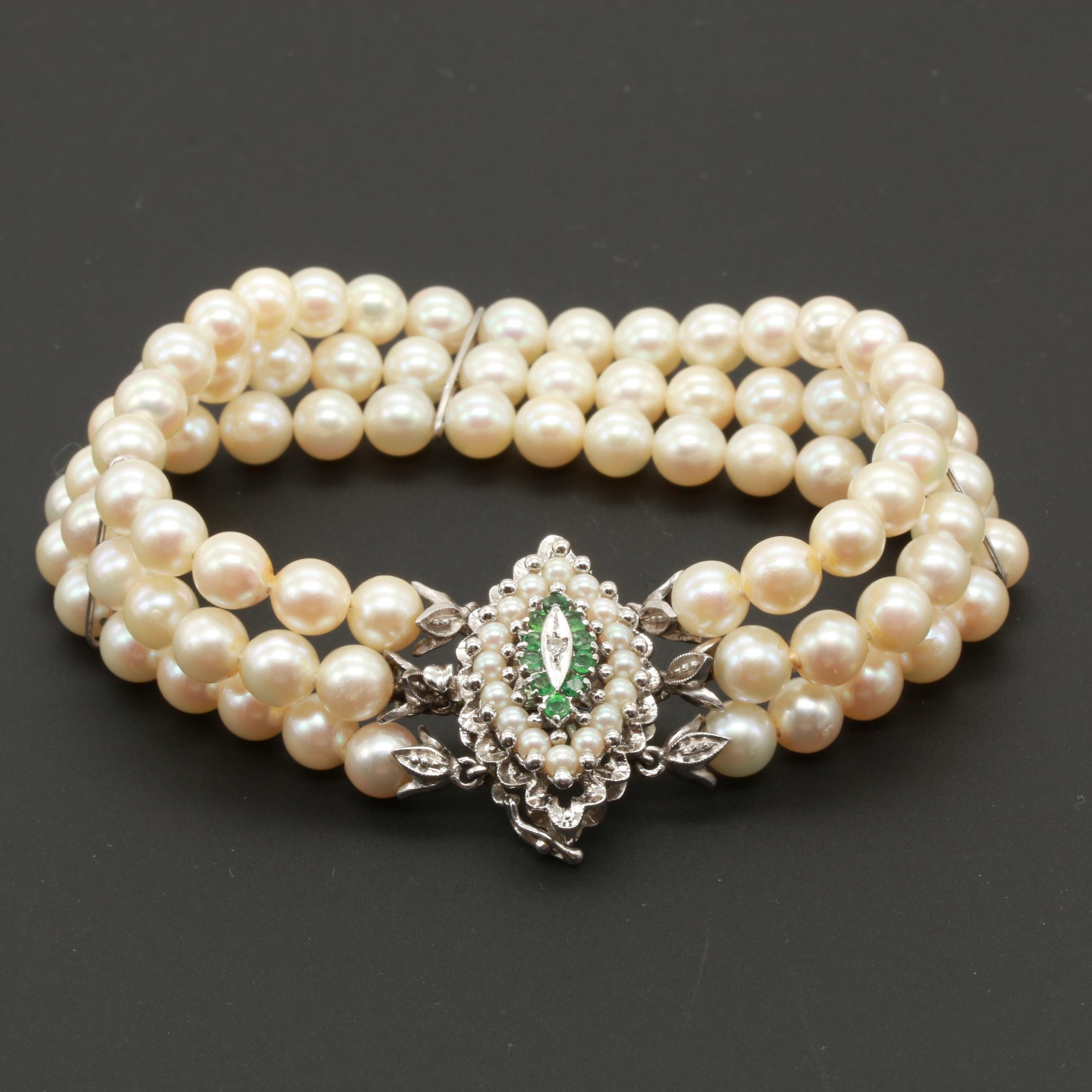 Vintage 18K White Gold Cultured Pearl Bracelet with Emerald and Diamond Accents