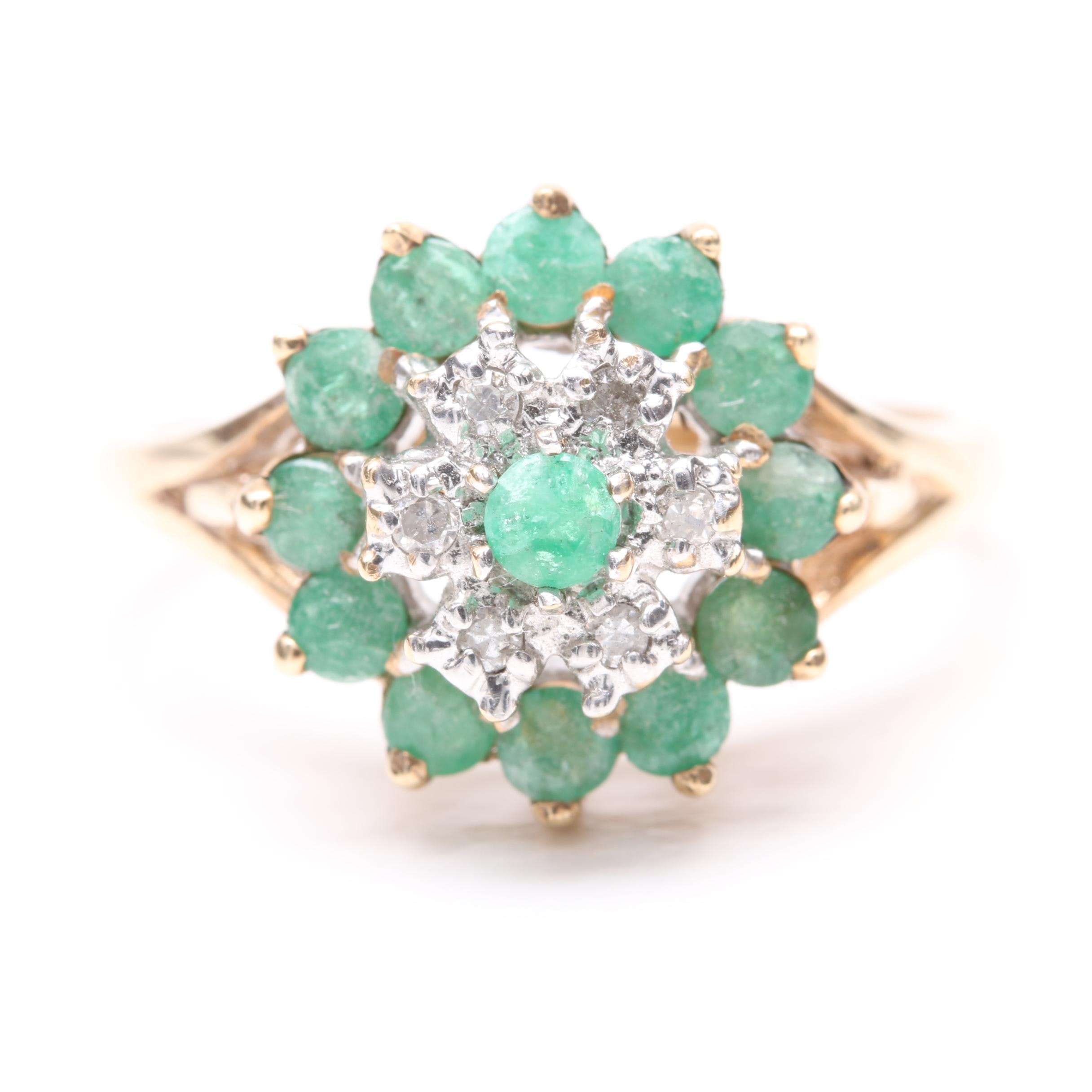 14K Yellow Gold Emerald and Diamond Ring with 14K White Gold Accents