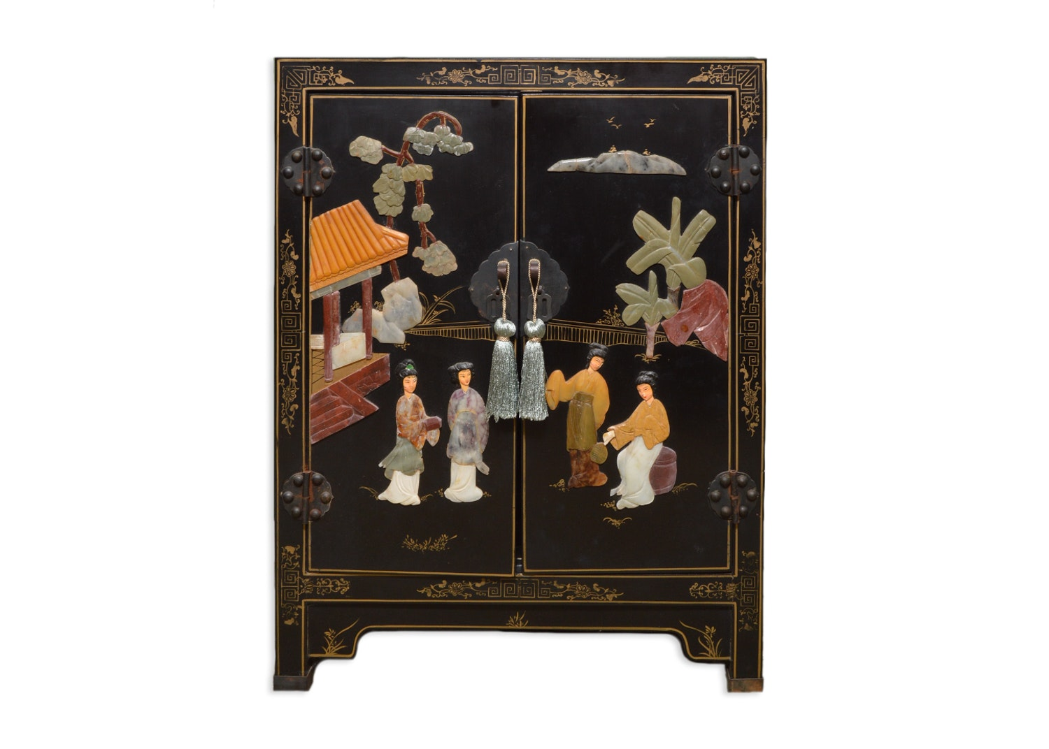 Vintage Chinese Black Lacquered Side Cabinet