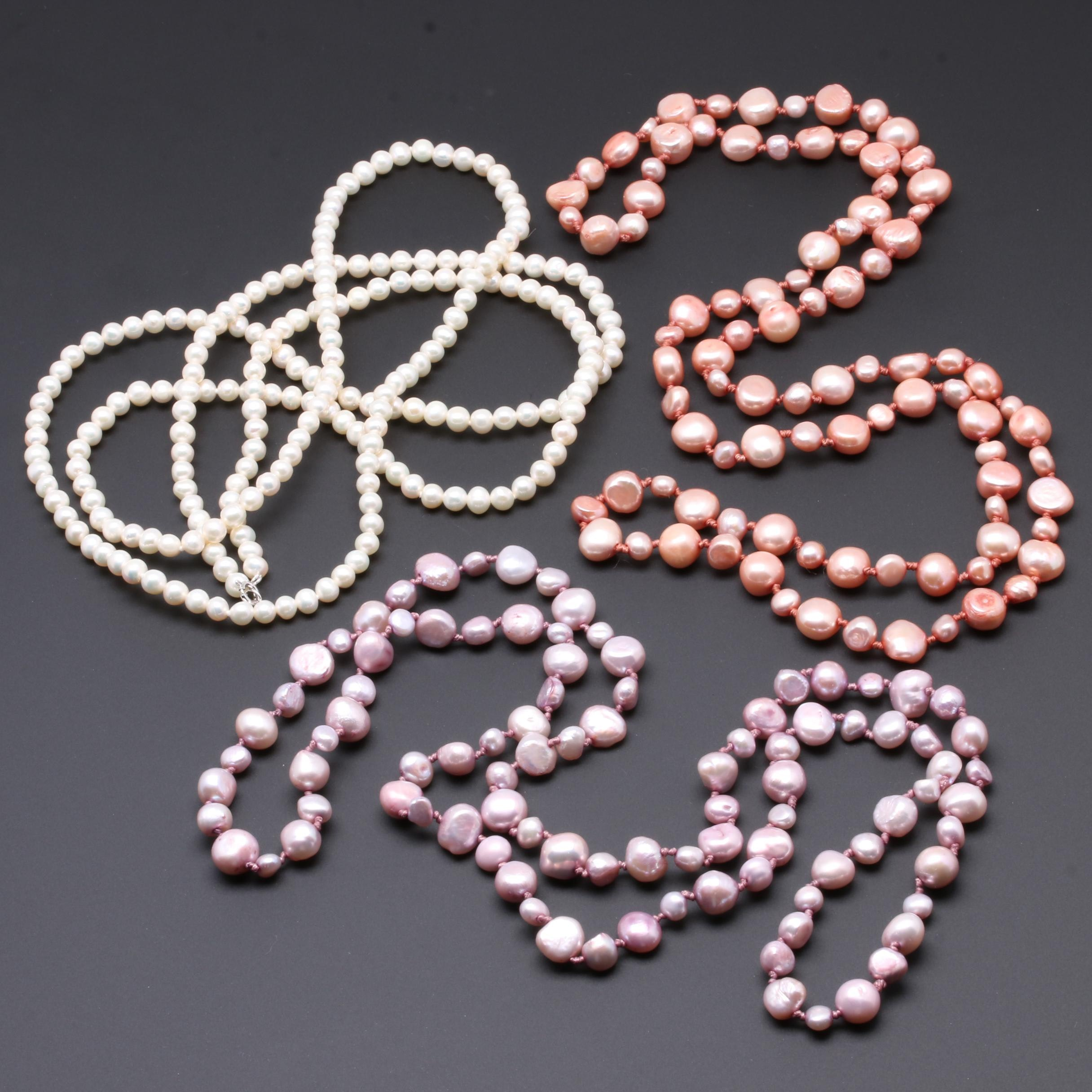 Sterling Silver and Costume Cultured Pearl Beaded Necklaces