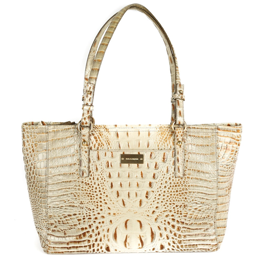 Brahmin Alligator Embossed Dyed Leather Tote Bag
