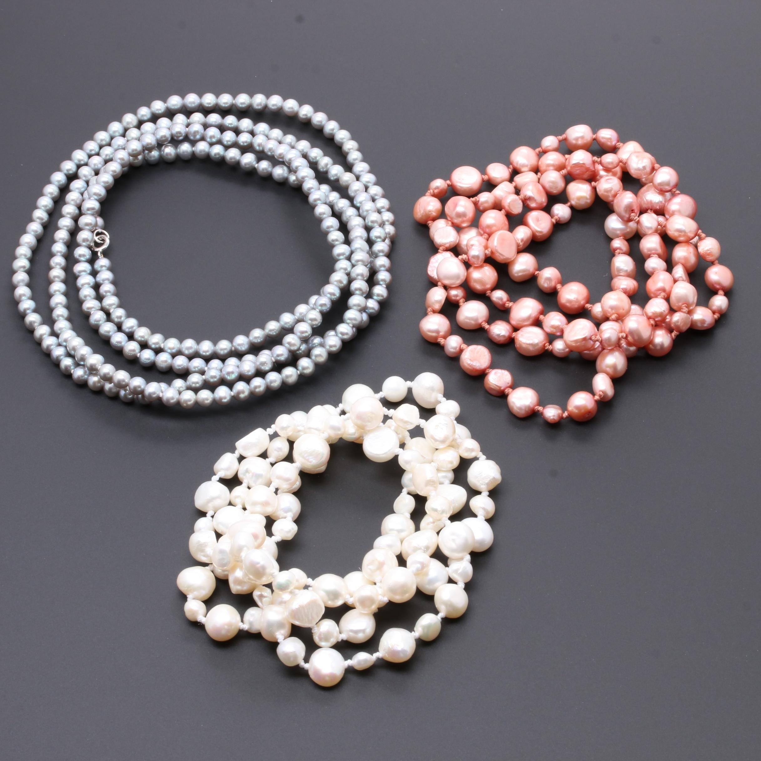 Sterling Silver Cultured Pearl Necklace Selection Including Grey and Pink Pearls