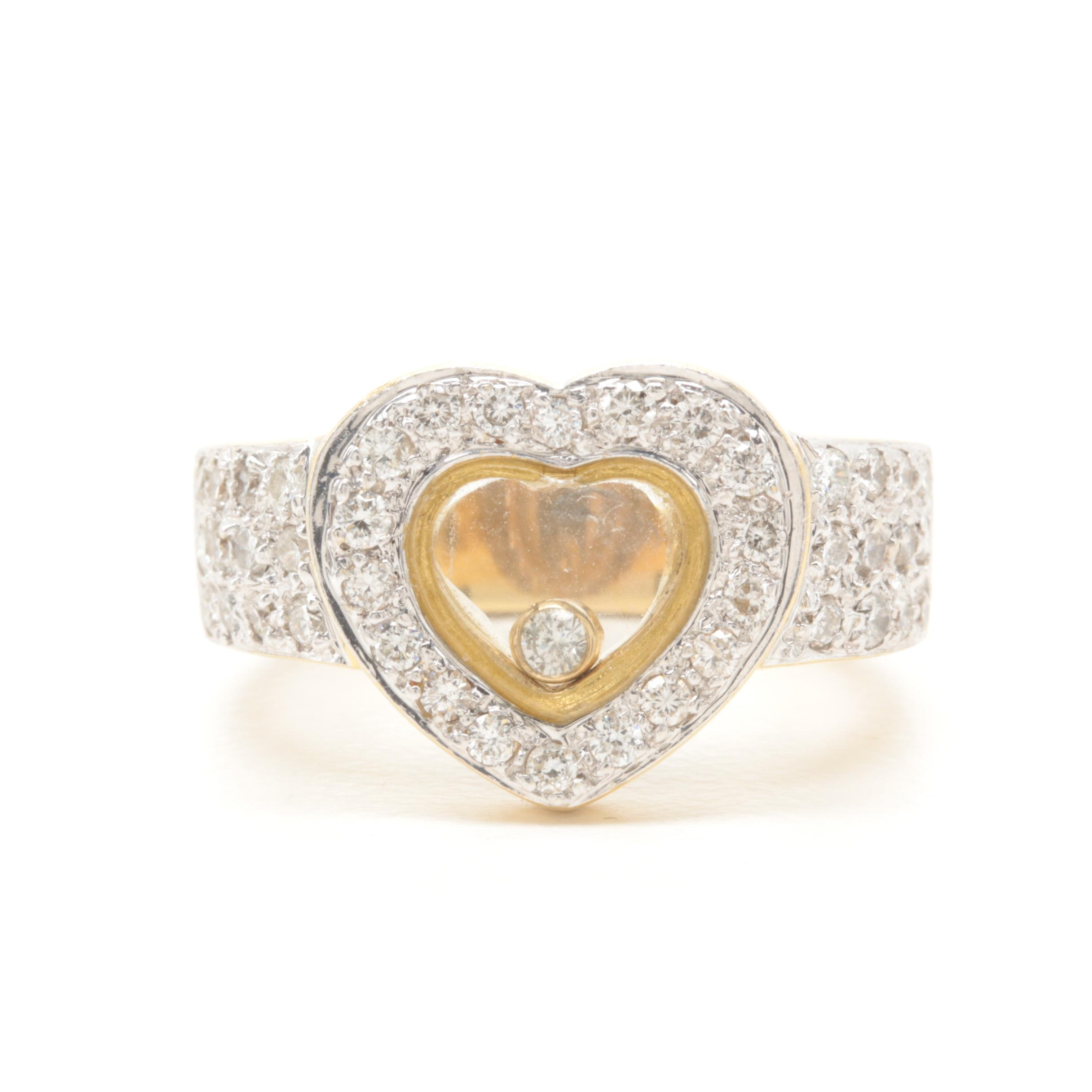 18K Yellow Gold Diamond Heart Ring with Floating Diamond