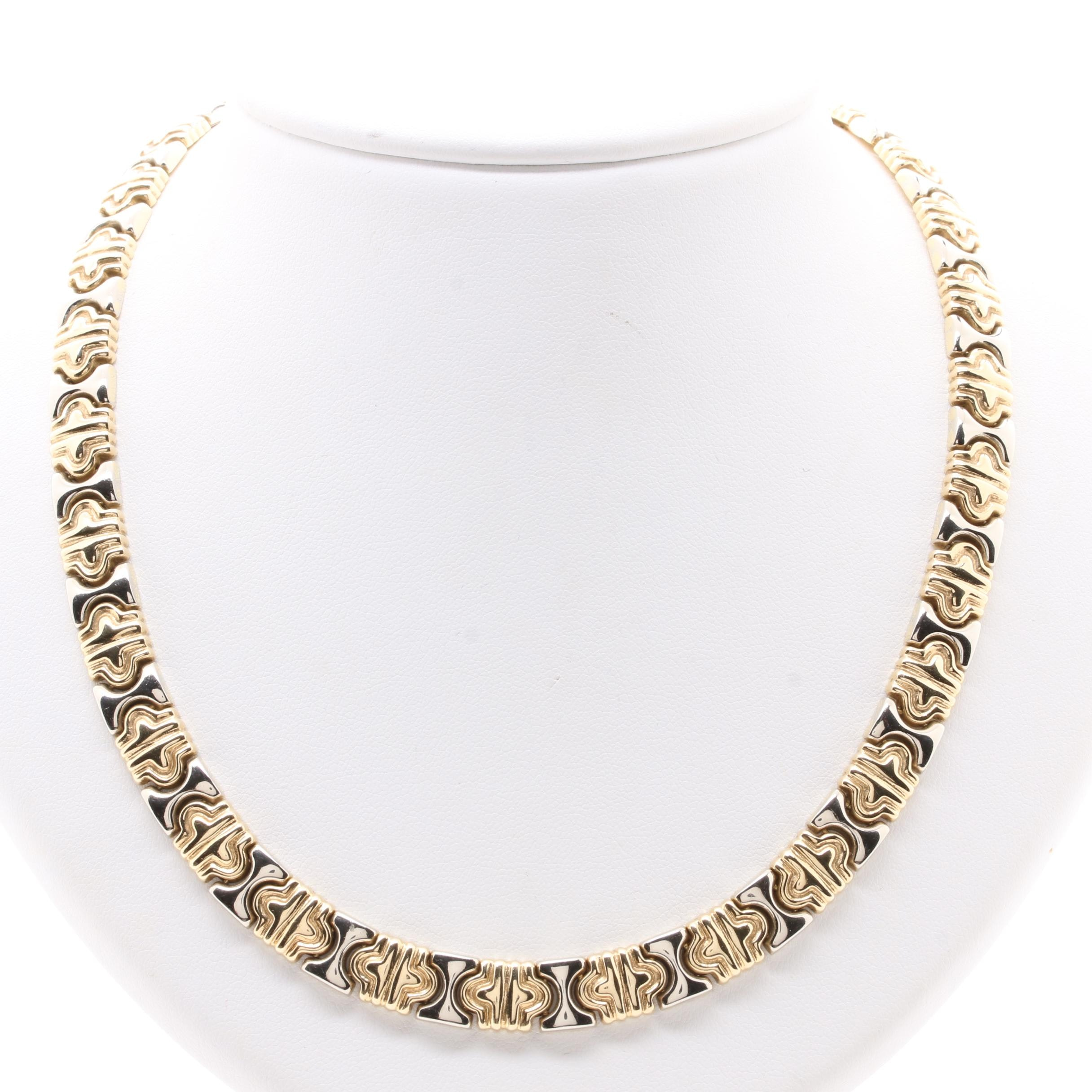 14K Yellow Gold Link Necklace with 14K White Gold Accents