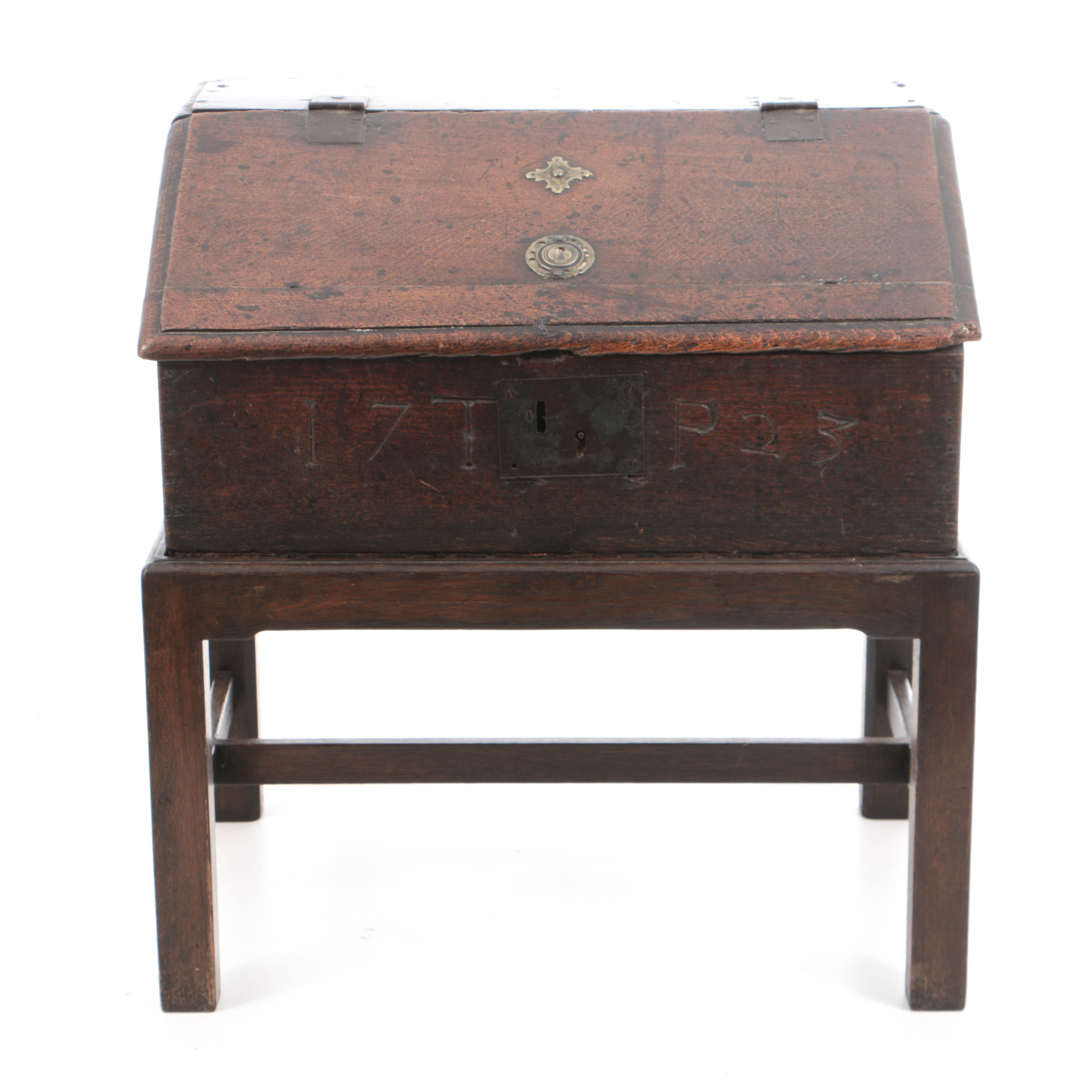 Antique George I Oak Slant-Front Bible Box on Later Stand
