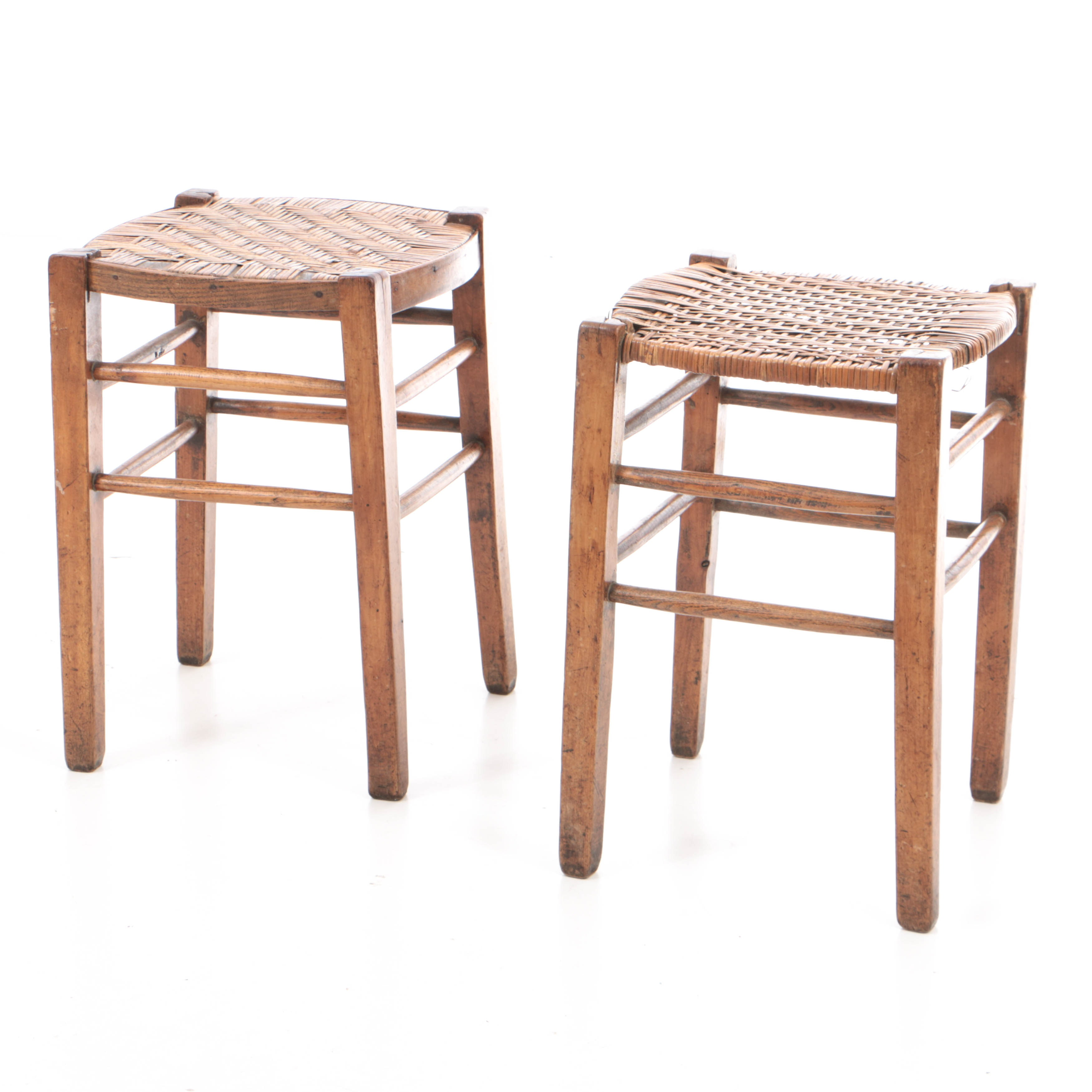 Antique French Provincial Fruitwood and Oak Stools
