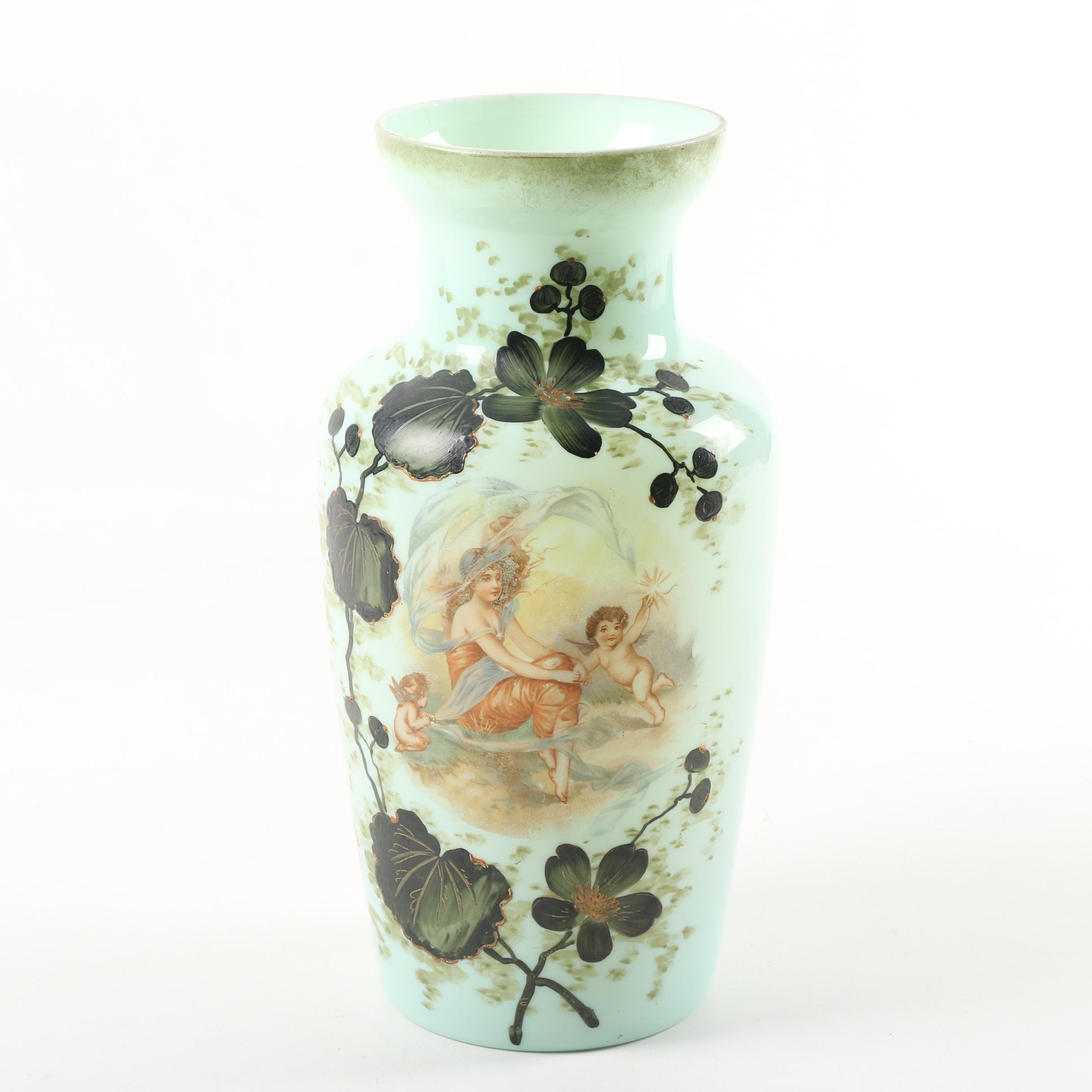 Antique Opalene Glass Vase with Art Nouveau Style Decoration