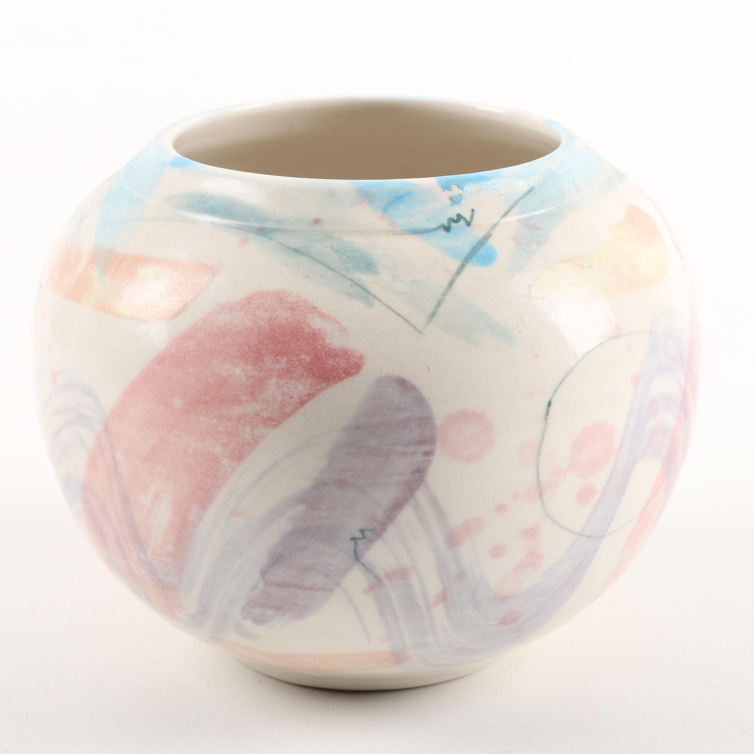 Hand-Painted Ploszay Studio Porcelain Vase