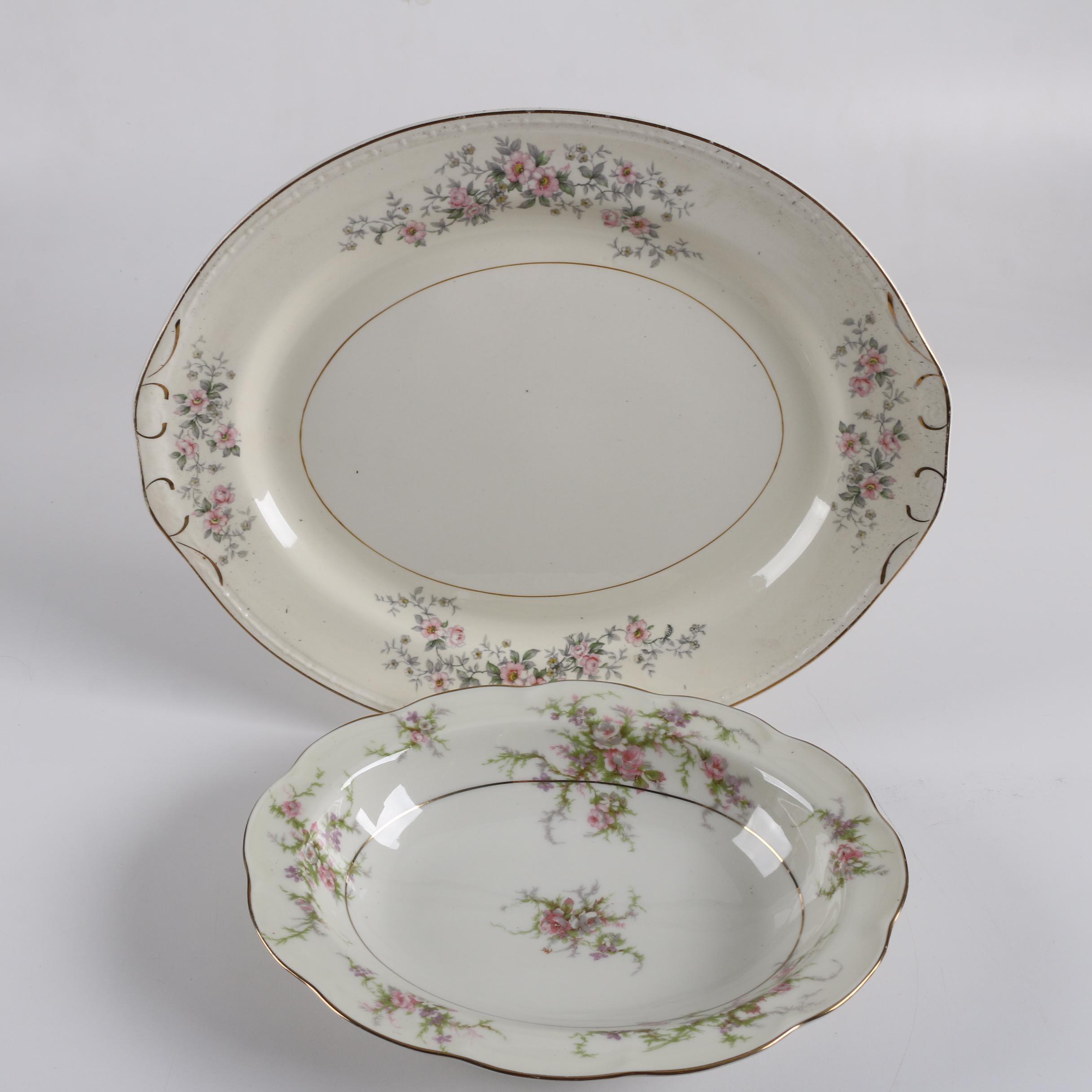 """Vintage Theodore Haviland """"Rosalinde"""" Vegetable Bowl with Homer Laughlin Platter"""