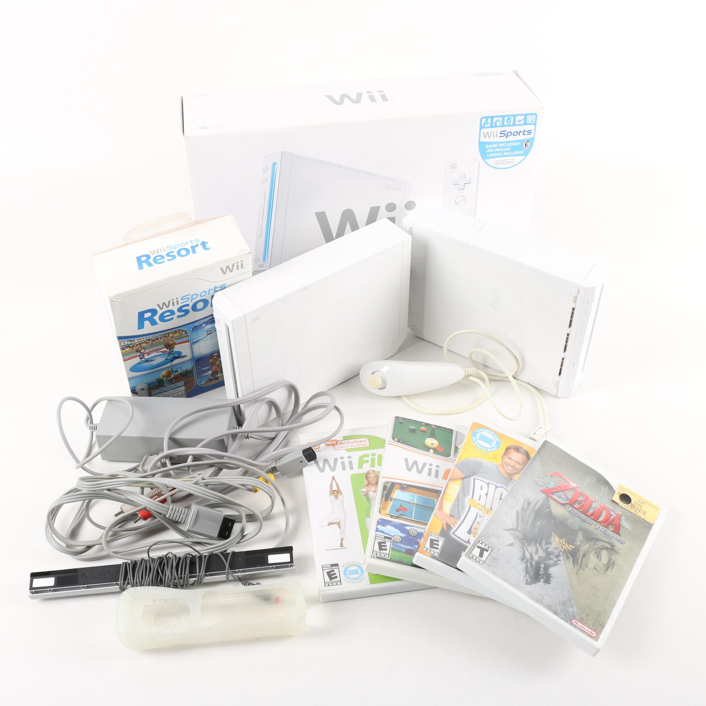 Nintendo Wii Video Game Consoles with Games and Accessories