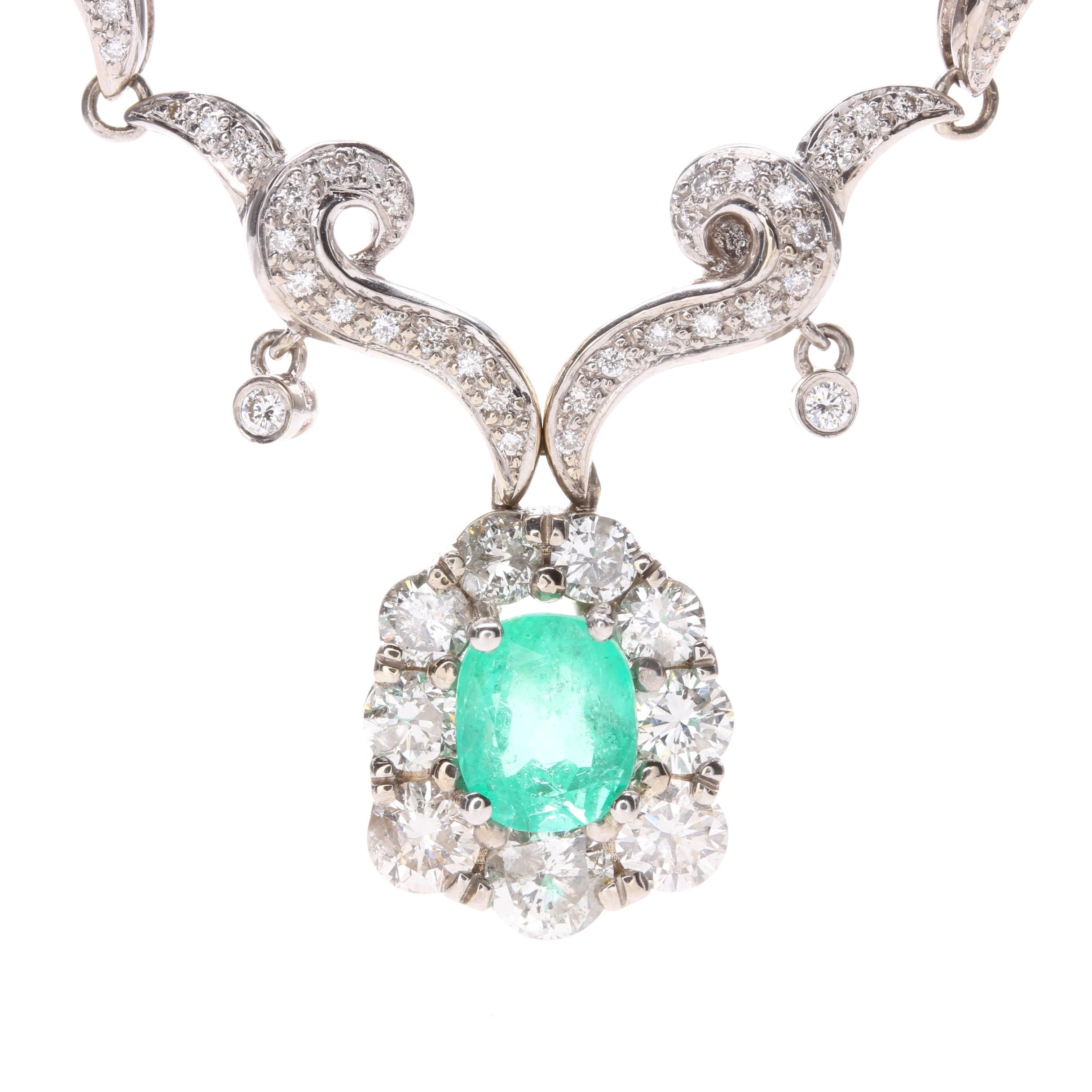 18K White Gold 1.69 CT Emerald and 2.37 CTW Diamond Necklace
