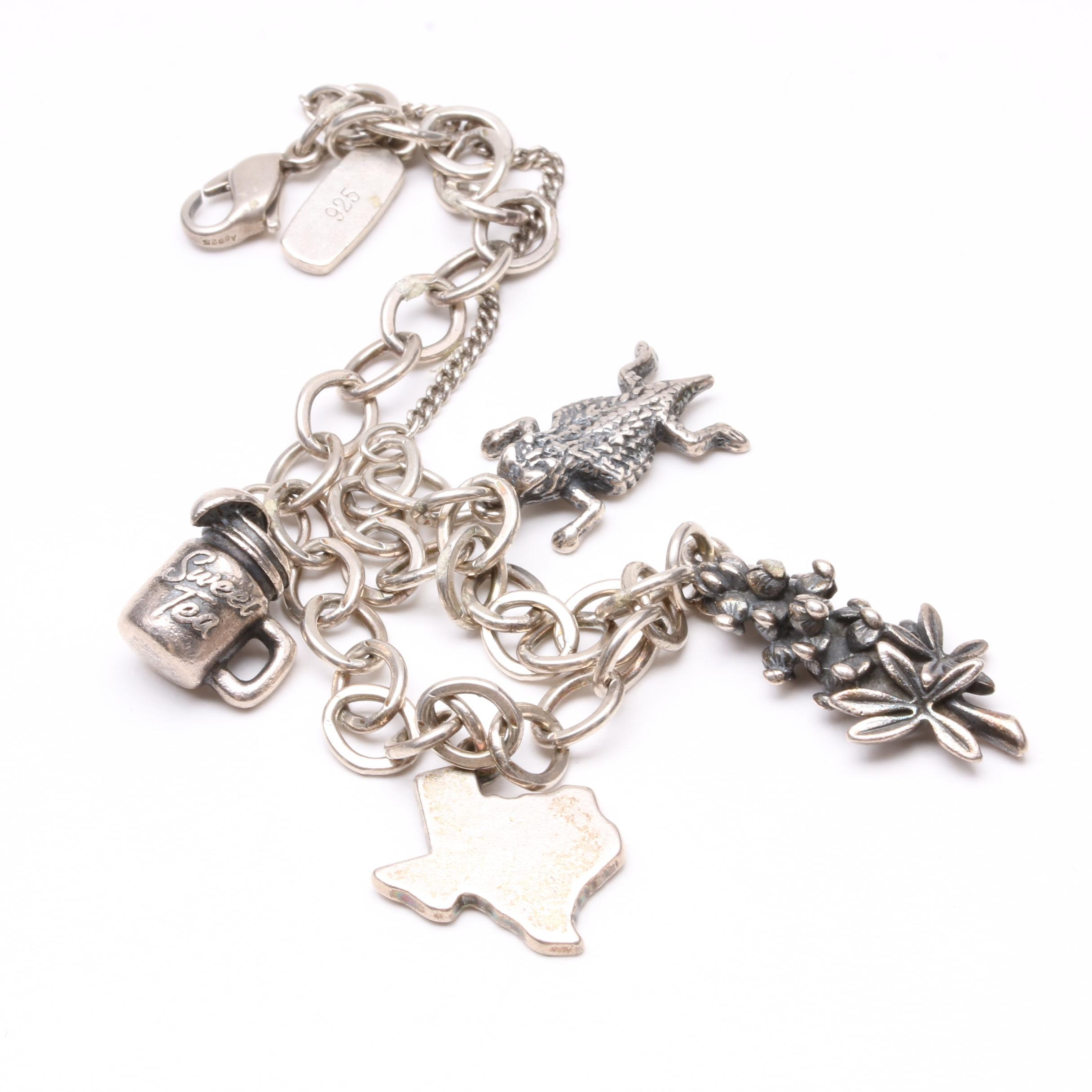 James Avery Sterling Silver Charm Bracelet with Southern Themed Charms