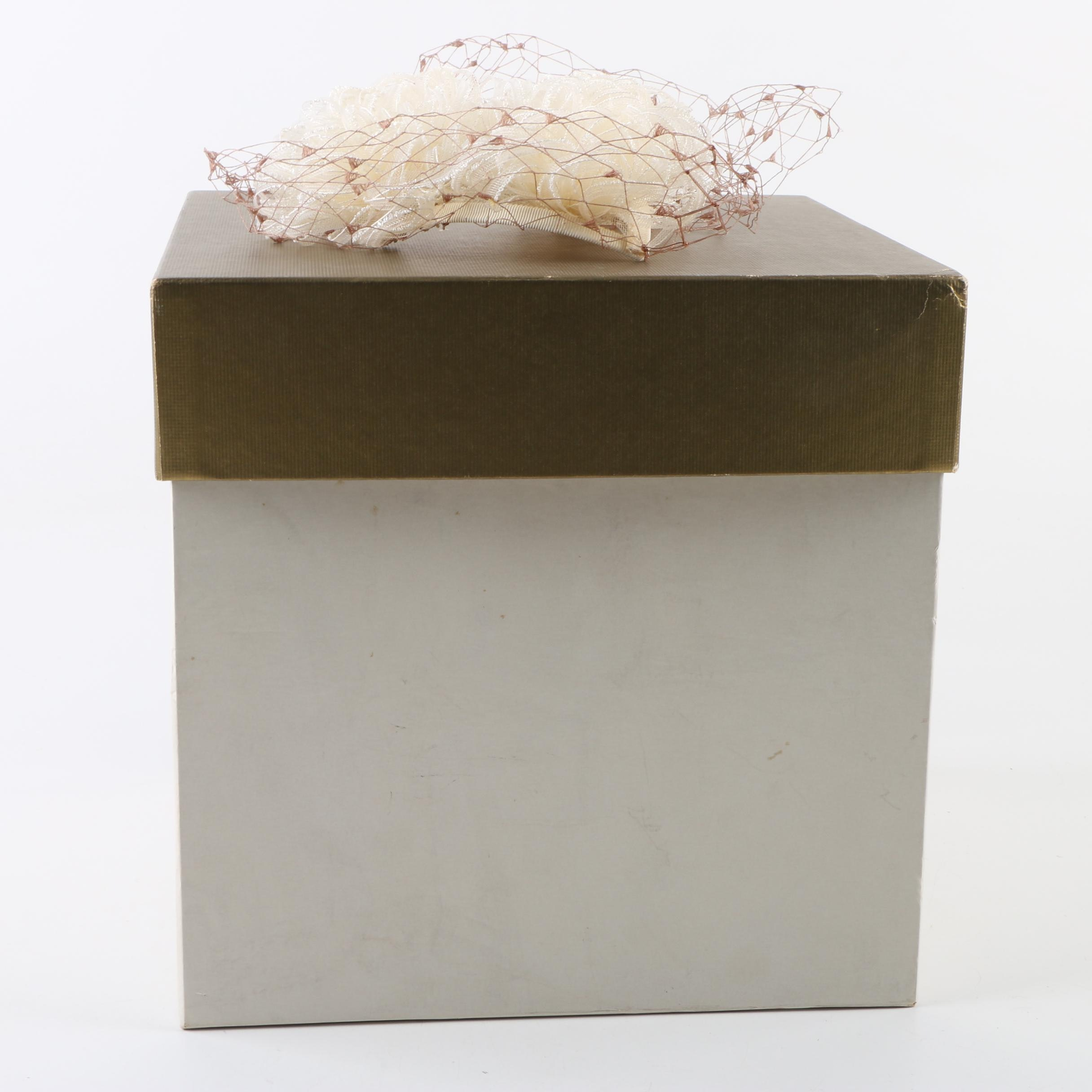 Vintage Blum's - Vogue Chicago Cream and Brown Fascinator with Box