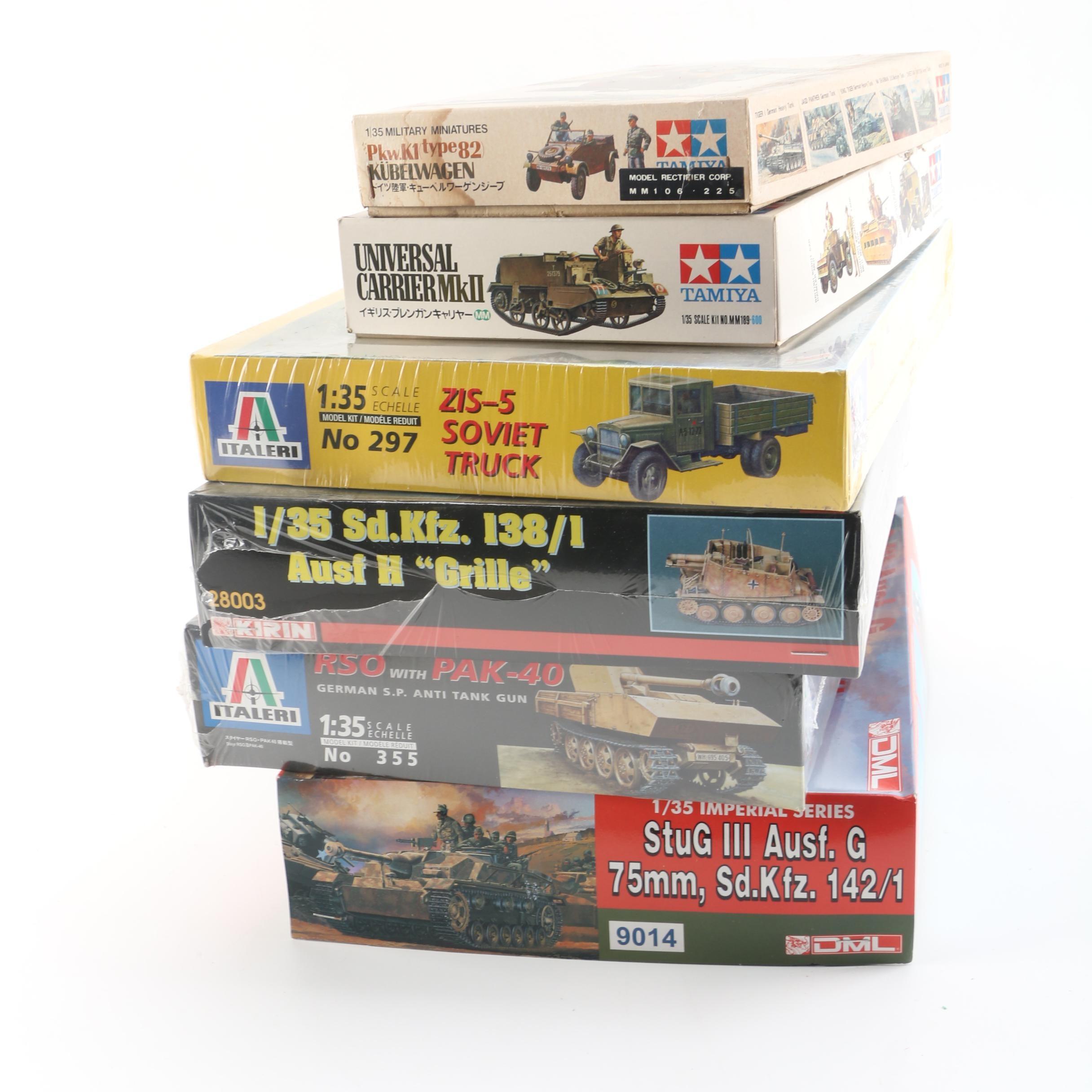 Military Vehicle Model Kits, Including Italeri and Tamiya