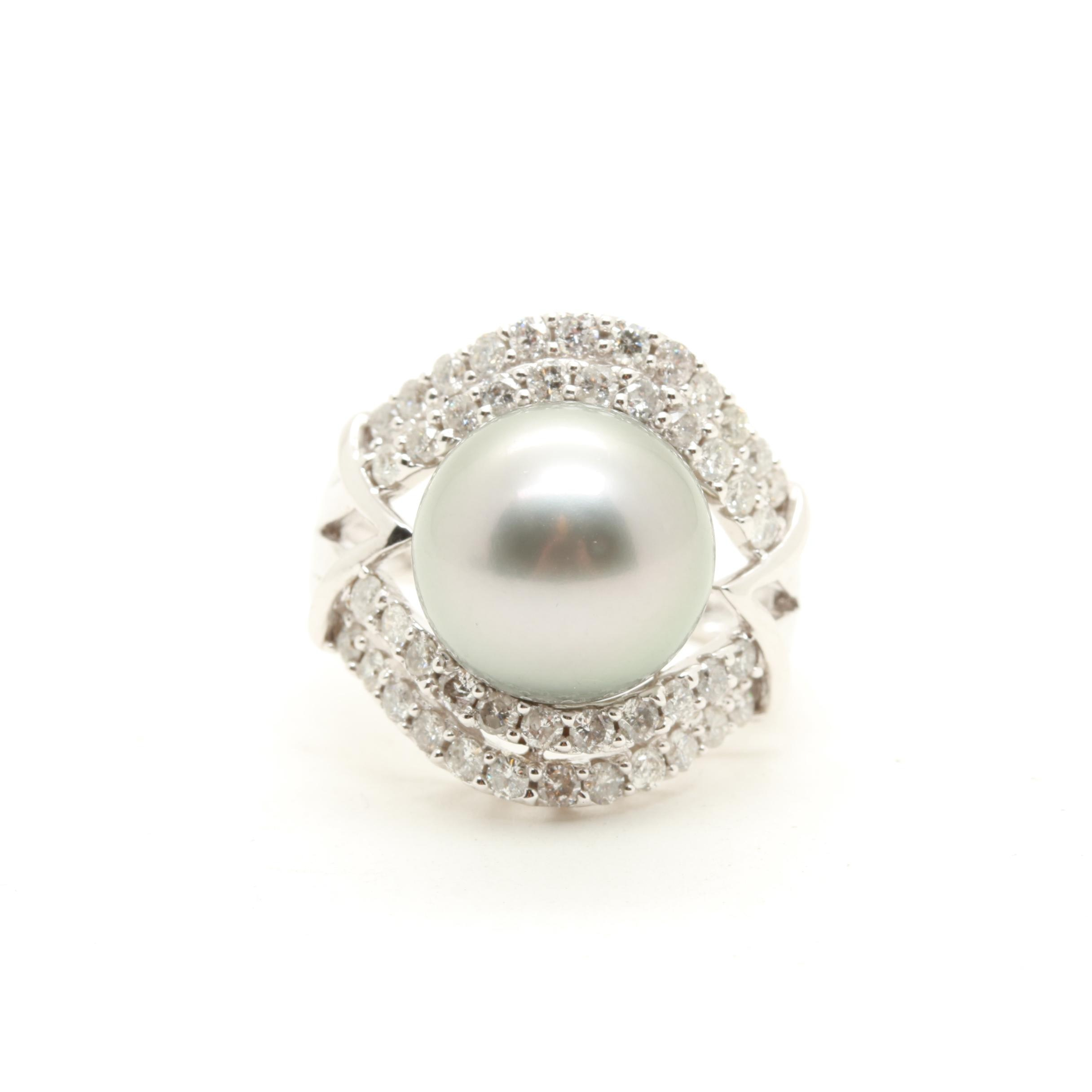 14K White Gold Cultured Tahitian Pearl and 0.92 CTW Diamond Ring