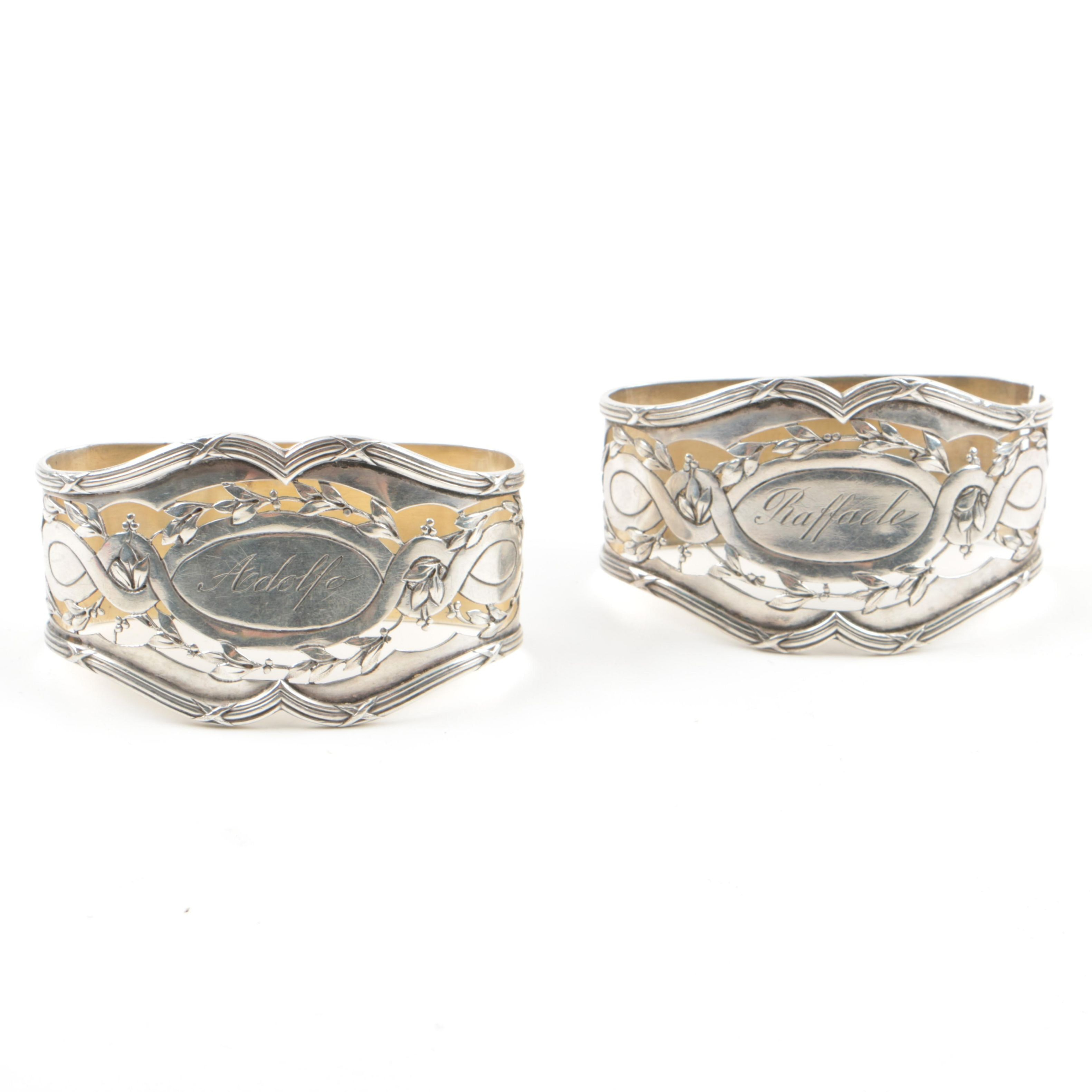 Two Early Twentieth Century French Sterling Silver Napkin Rings