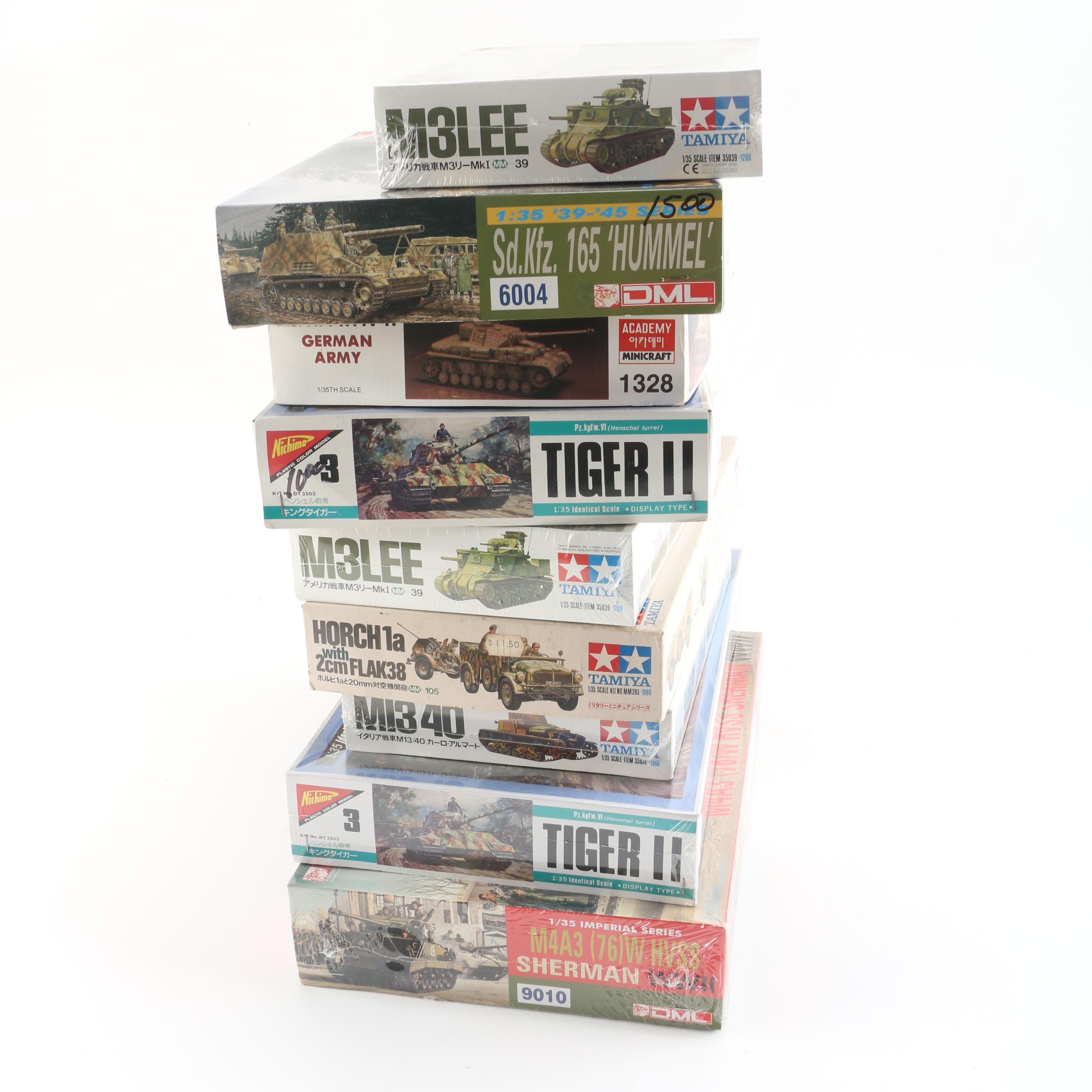 Vintage Tamiya and Other Miliatry Vehicle Model Kits