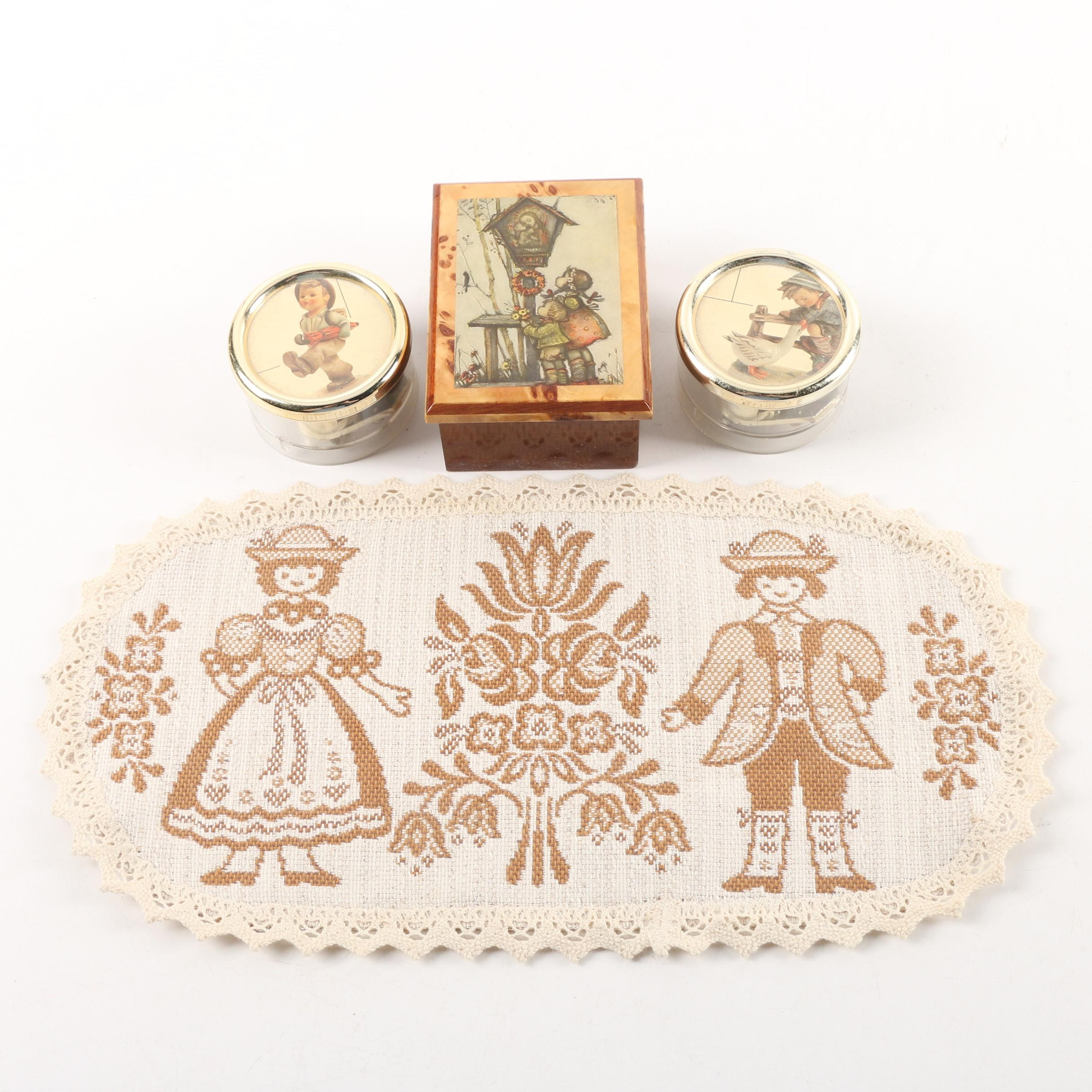 Decorative Wooden Trinket Box, Two Plastic Music Boxes, and Doily