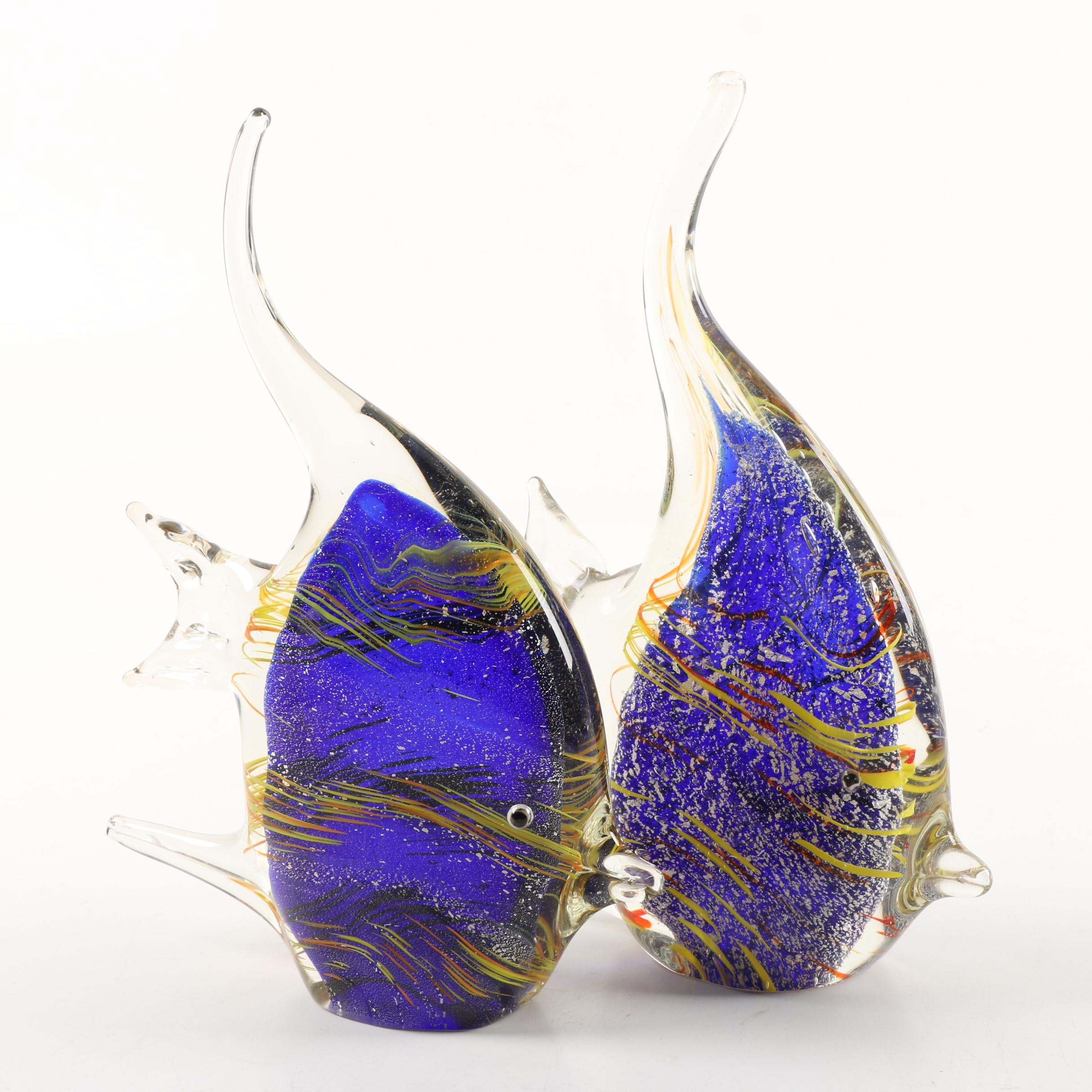 Vintage Murano Style Art Glass Fish Sculptures
